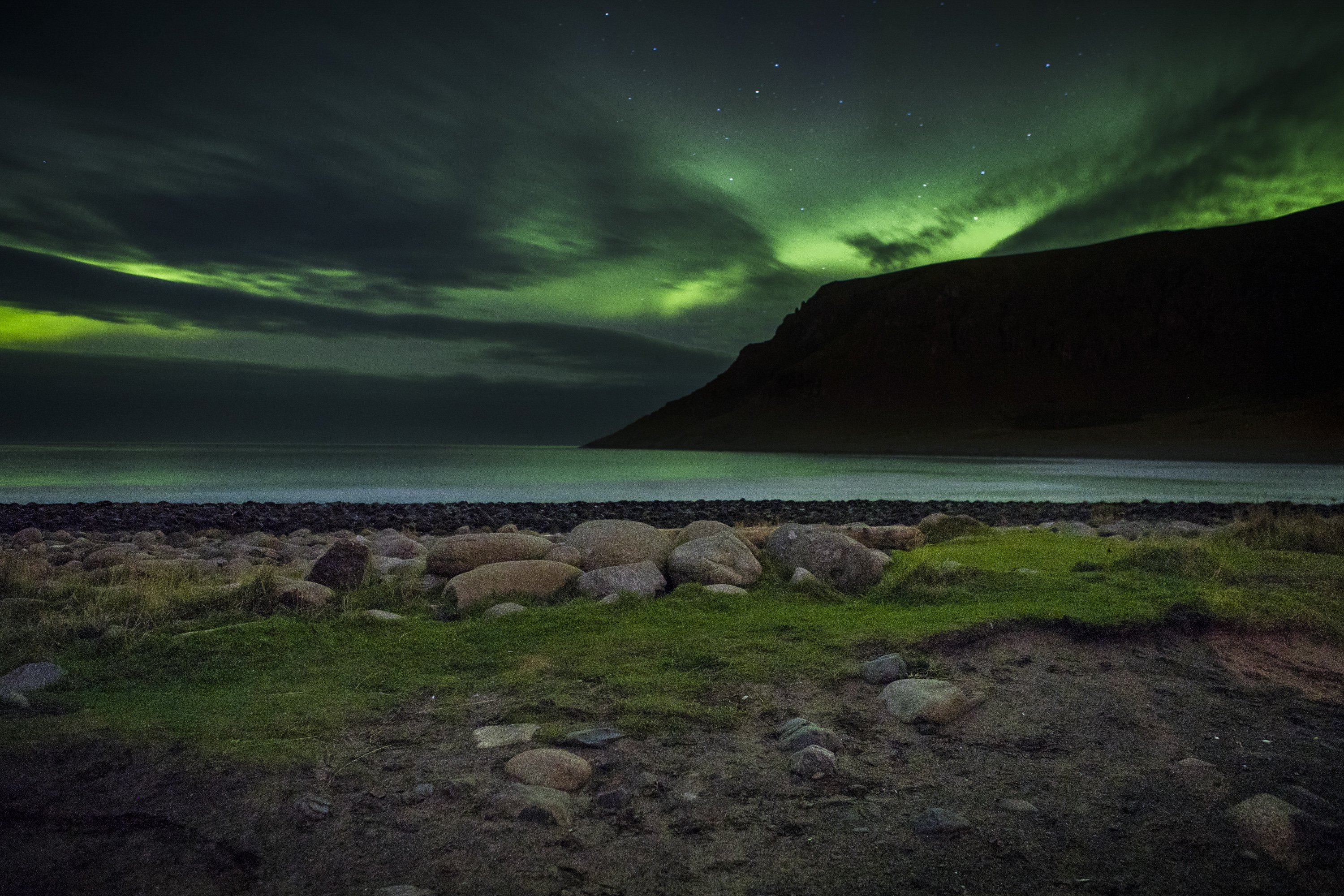 Surfing under the northern lights and above the Arctic Circle