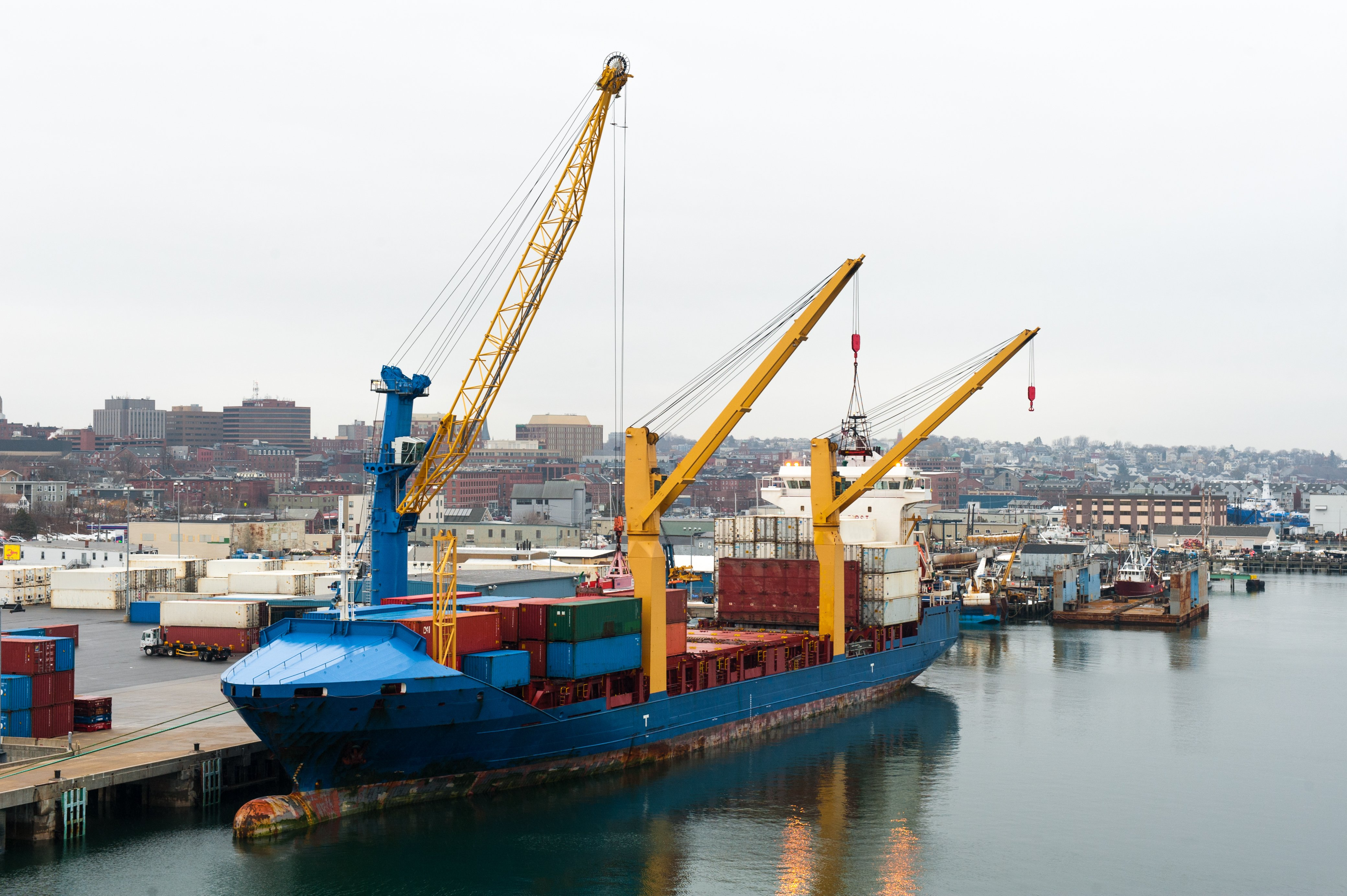 A container ship is loaded in at Portland, Maine. Portland hosts the only full Arctic Council meeting outside Alaska during the U.S. chairmanship of the council. (Thinkstock)