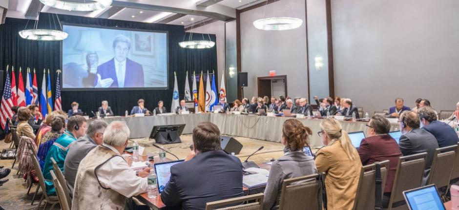 U.S. Secretary of State John Kerry addresses the Arctic Council's gathering of Senior Arctic Officials in Portland, Maine. (Linnea Nordström / Arctic Council)