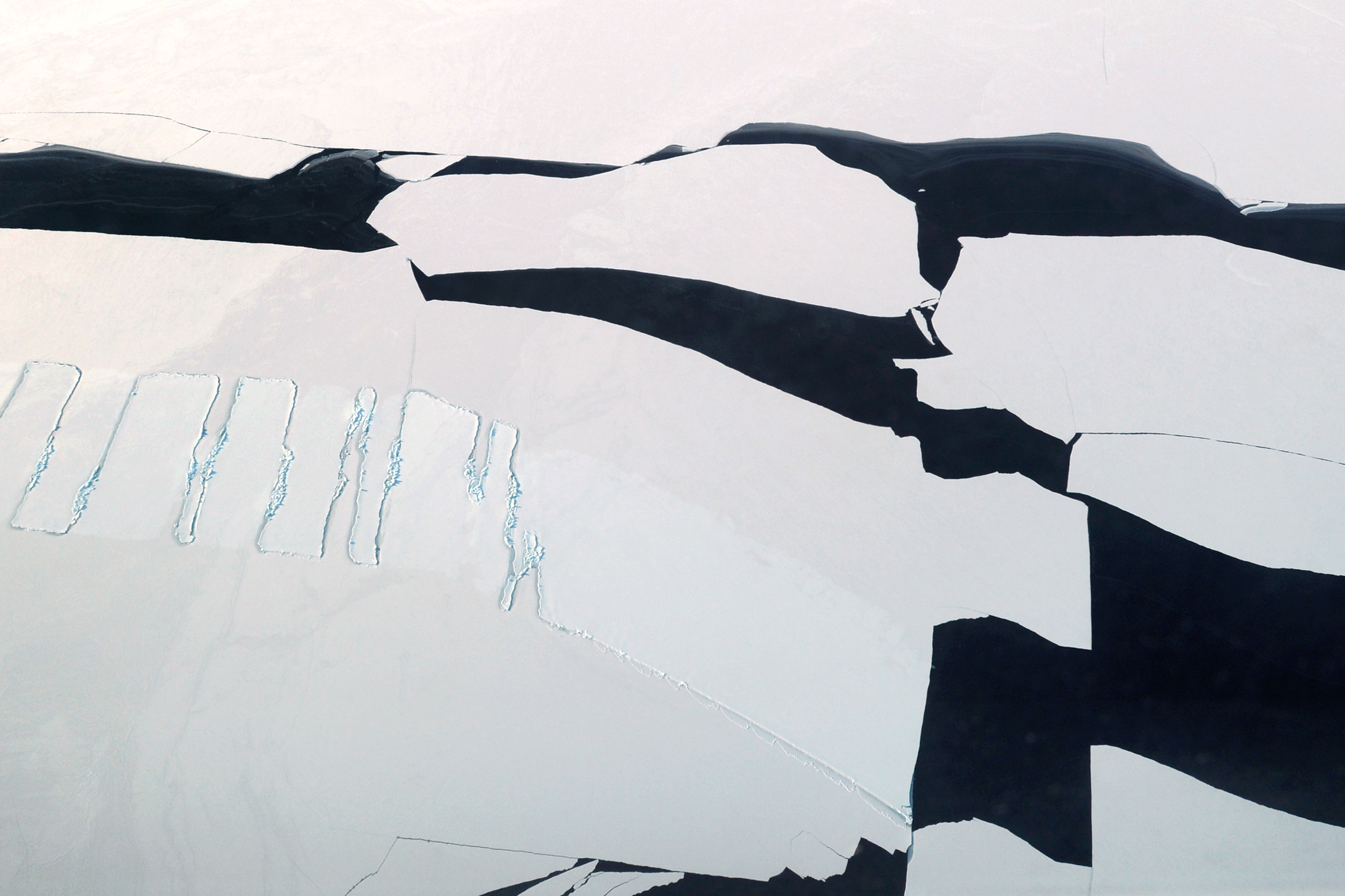 Aerial view of open leads of water in the ice pack on the Chukchi Sea along the coast of Northwest Alaska just south of Kivalina on Monday, Feb. 16, 2015. (Bill Roth / Alaska Dispatch News)