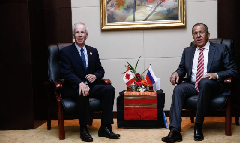Canada's Foreign Minister Stéphane Dion meets Russia's Foreign Minister Sergei Lavrov in Laos in June 2016 where they made Arctic cooperation a priority. (Russian Ministry of Foreign Affairs / Creative Commons)