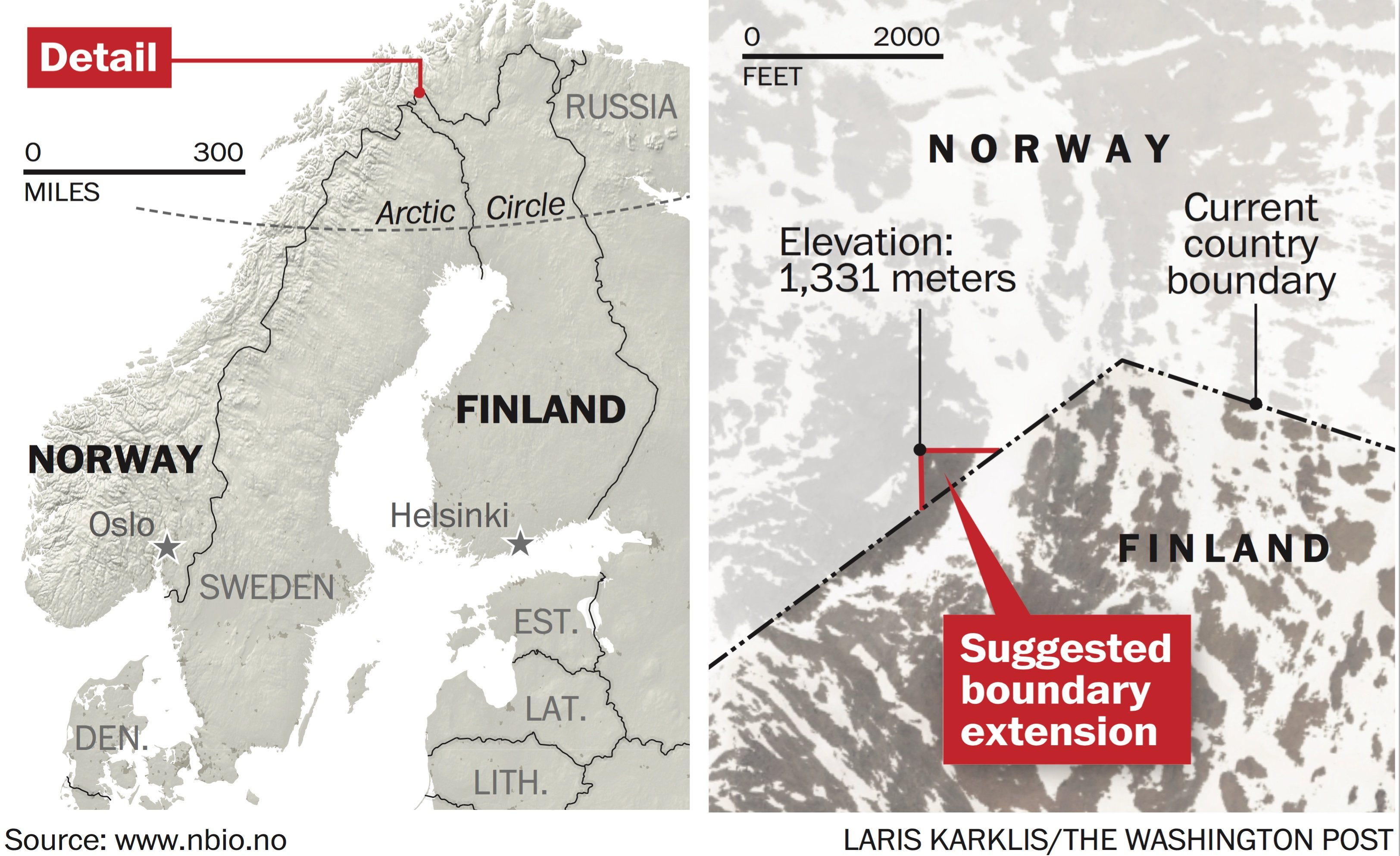 An online movement in Norway sought to give Finland the summit of a peak the straddles the Arctic border between the two nations. The gift would have given Finland a new highest point, but the plan was rejected by Norway. (Laris Karklis / The Washington Post)