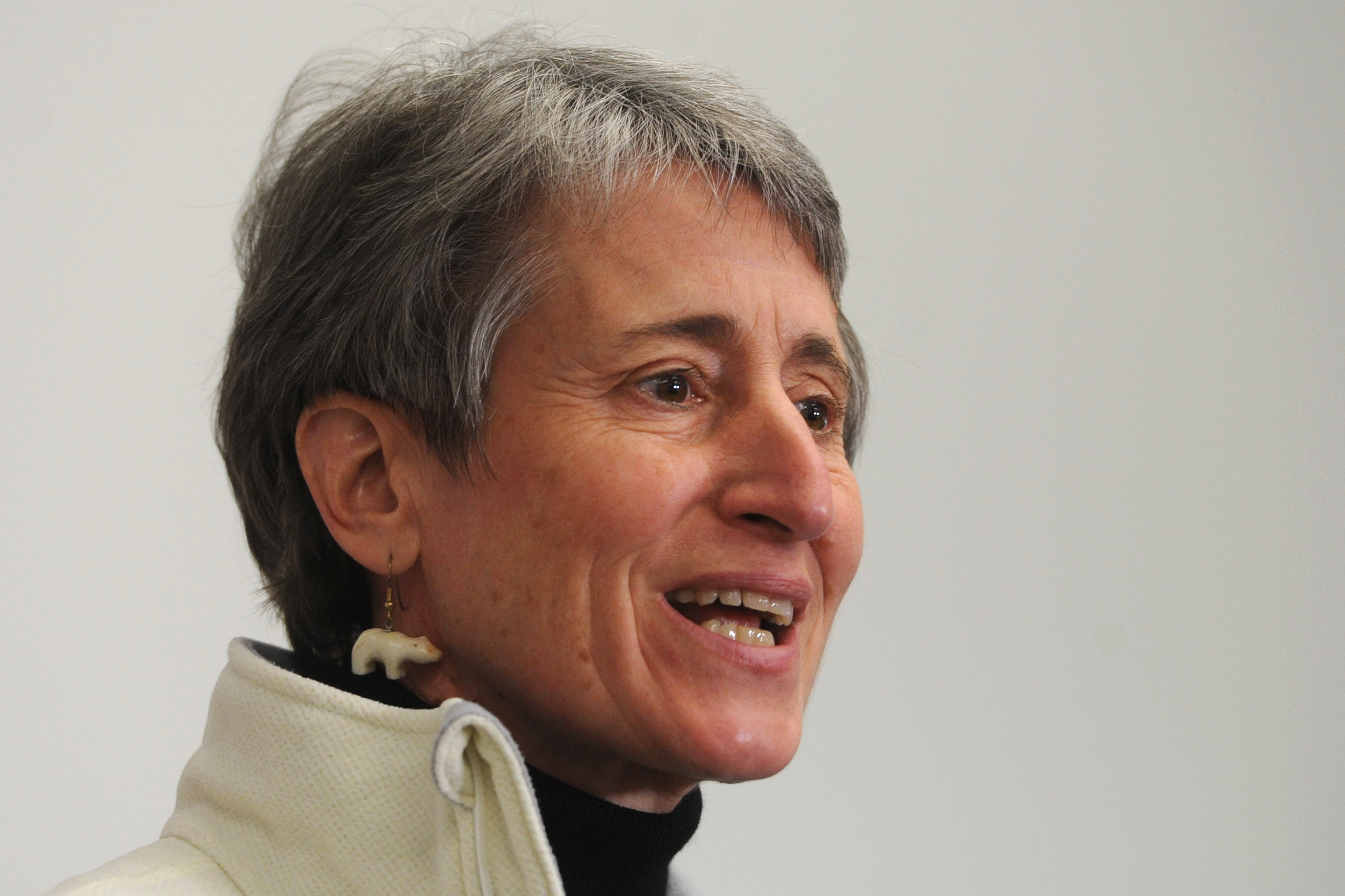 Interior Secretary Sally Jewell held a press conference in Anchorage on Tuesday, Feb. 17, 2015, to discuss her visit to Alaska. (Bill Roth / Alaska Dispatch News)