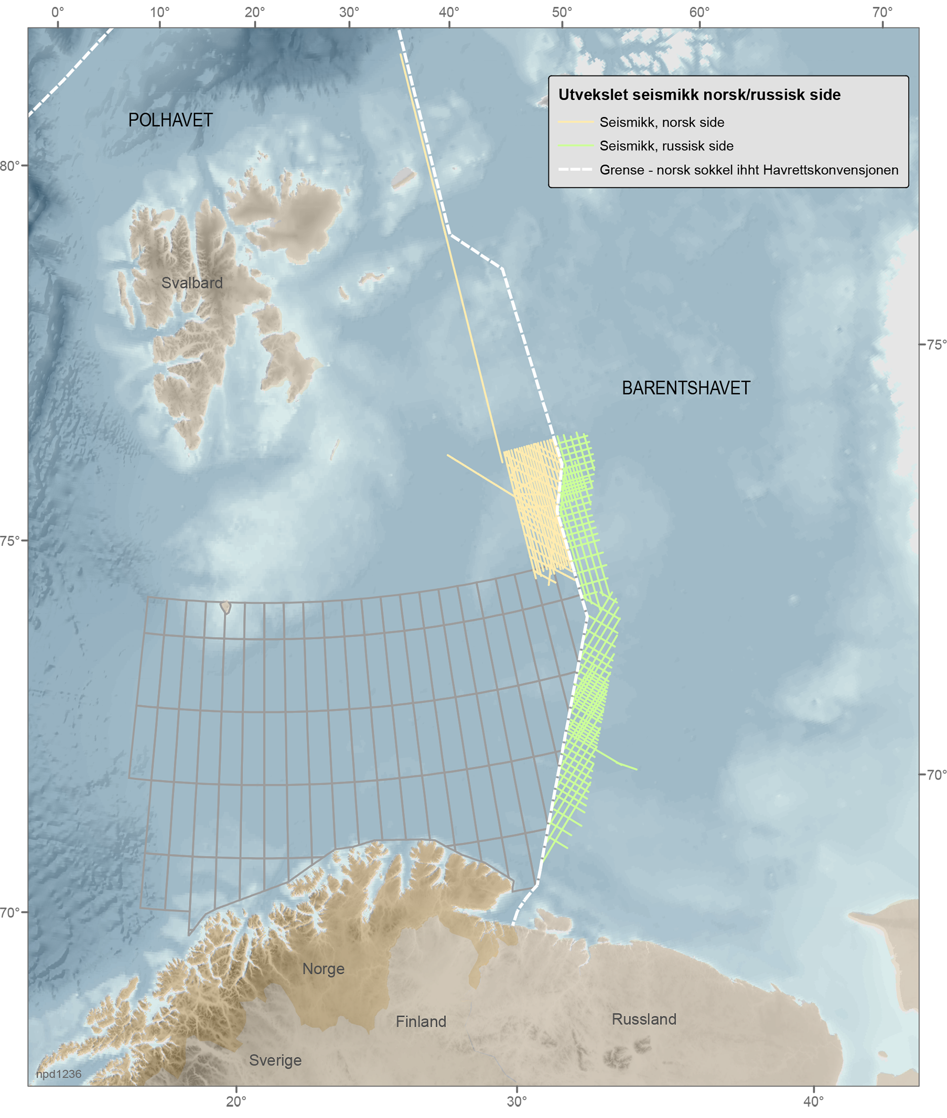 Norway has gathered considerable amounts of seismic data in the Barents Sea. The Norwegian Petroleum Directorate has now reached an agreement with the Russian petroleum authority Rosnedra to exchange information that is gathered on both sides of the delimitation line between Norway and Russia. (Map courtesy Norwegian Petroleum Directorate via High North News)