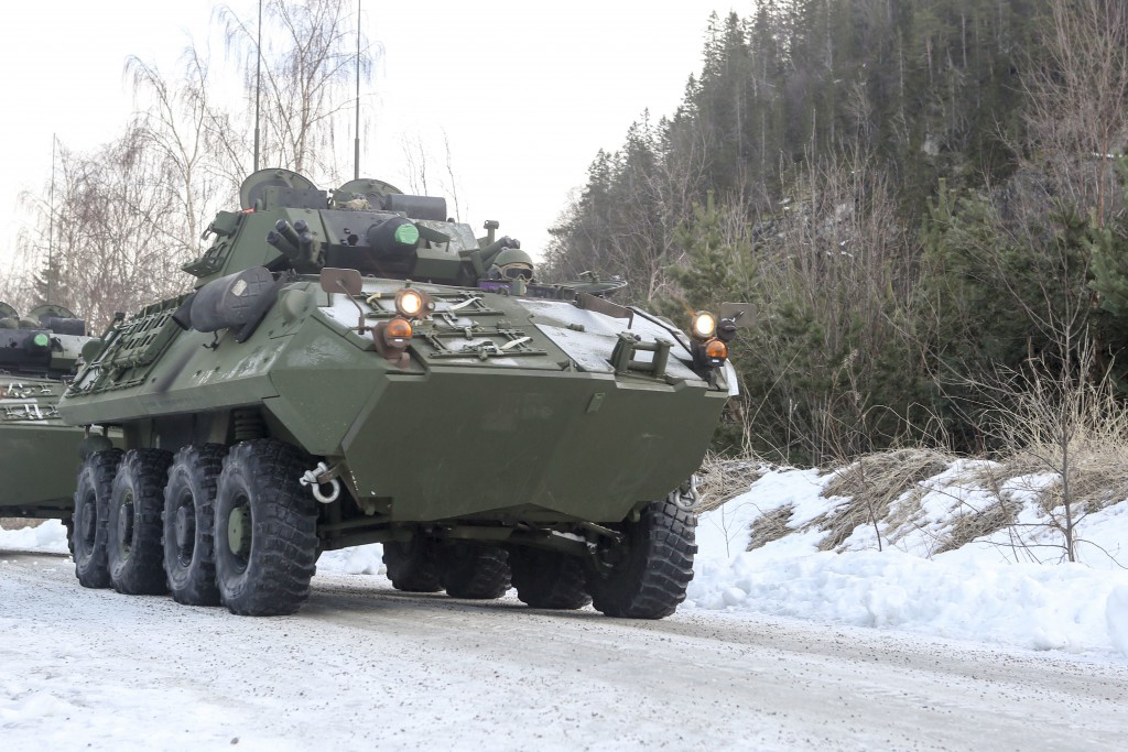 A Light Armored Vehicle awaits transportation by rail at Hell Station in Hell, Norway, February 2016. (Cpl. Dalton A. Precht / Marine Corps)