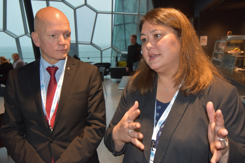 Taro Vauraste and Tara Sweeney from the Arctic Economic Council. (Thomas Nilsen / The Barents Observer)