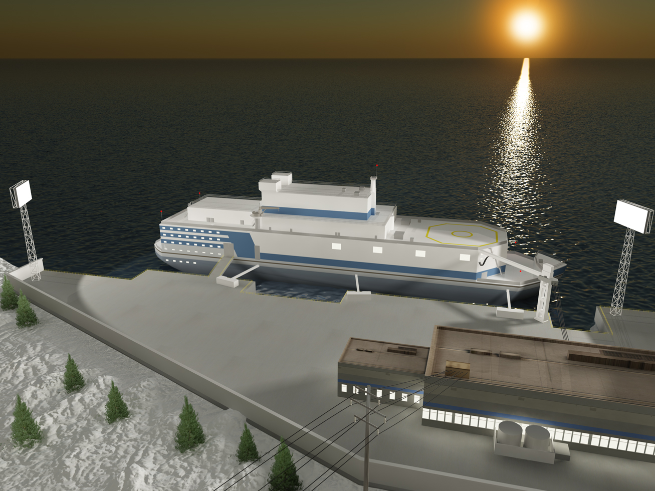 "Construction of the infrastructure for the floating nuclear power plant ""Akademik Lomonosov"" has begun in Pevek, in the Russia's Chukotka region. (Illustration courtesy Rosenergoatom.ru)"