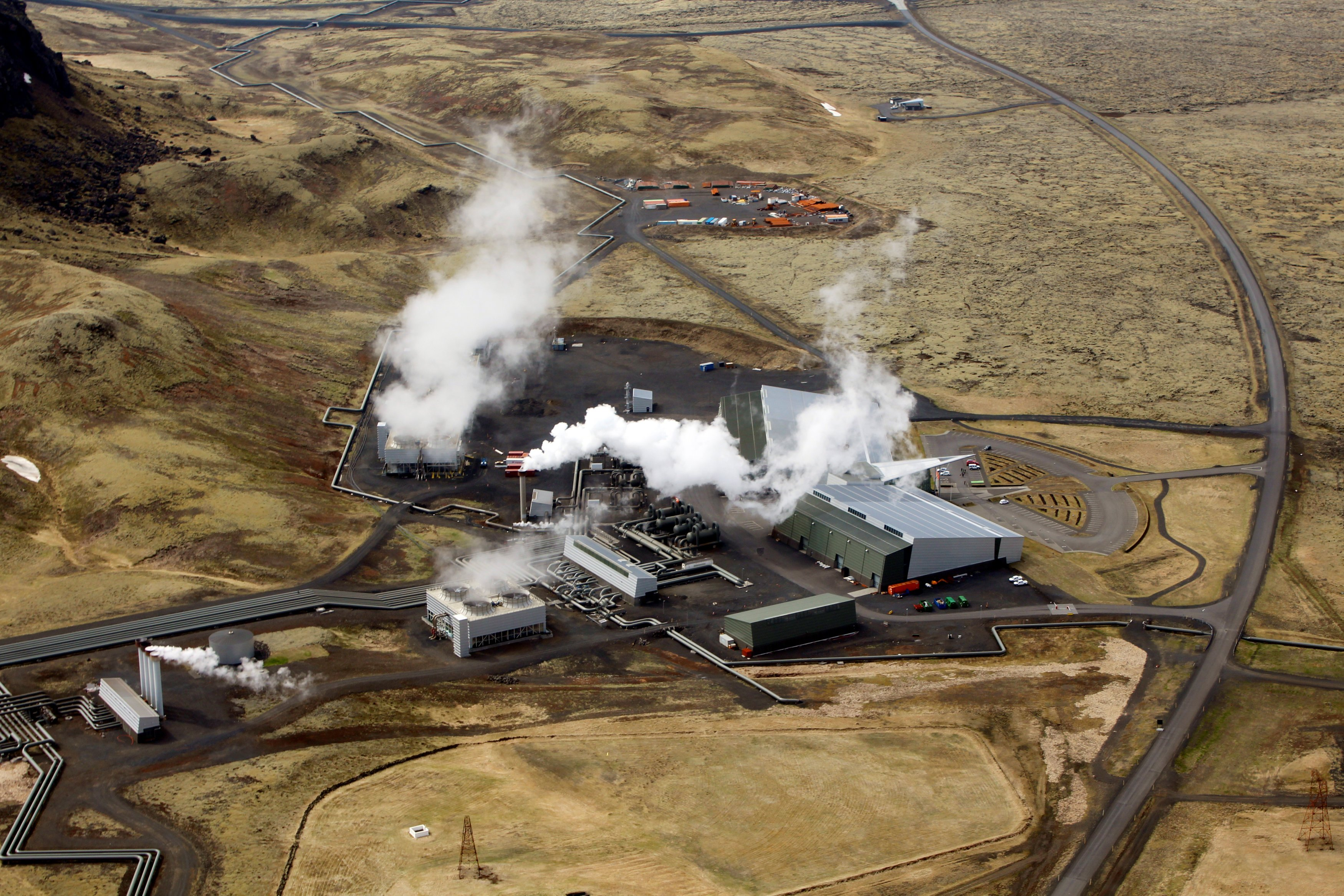 An aerial view of Hellisheidi geothermal power station near Reykjavik, Iceland, June 4, 2016. Picture taken June 4, 2016. REUTERS/Jemima Kelly