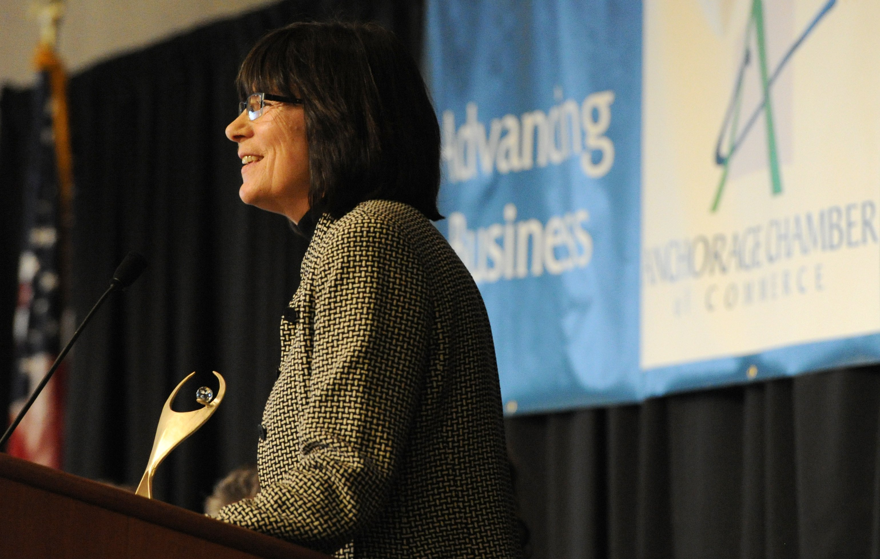 Helvi Sandvik, president of NANA Development Corporation was presented the ATHENA Award during the Anchorage Chamber of Commerce's 19th annual Anchorage ATHENA Society Award Luncheon at the Dena'ina Center on Monday, Mar. 25, 2013. (Bill Roth / Alaska Dispatch News archive)