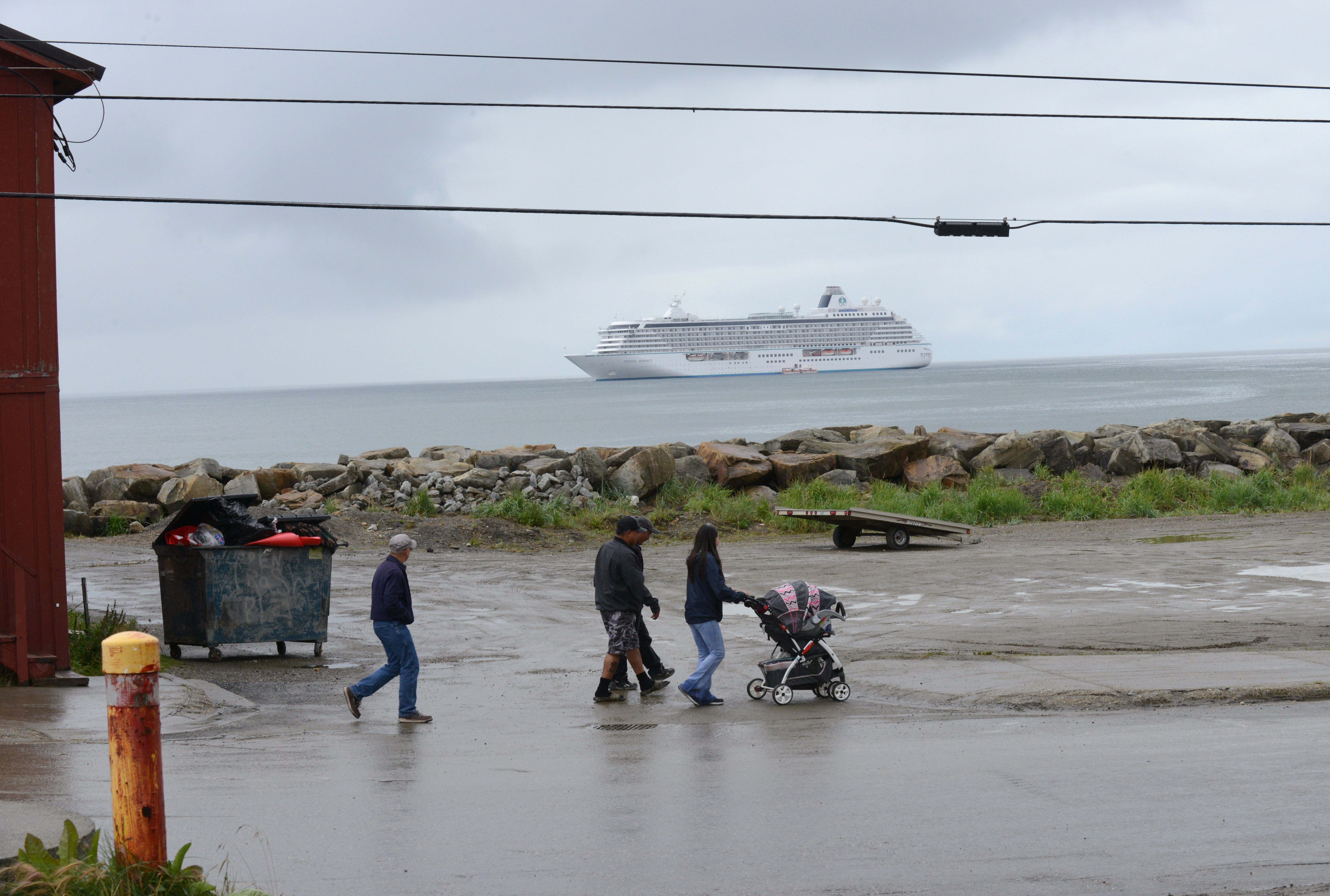 The Crystal Serenity cruise ship stops in Nome, Alaska on Sunday, August 21, 2016. The cruise ship is on its way across the Northwest Passage, the largest passenger ship to attempt the crossing. (Bob Hallinen / Alaska Dispatch News)