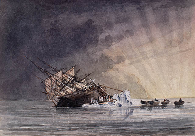 An illustration of the position of the HMS Terror at sunrise on July 14, 1837. (Owen Stanley / Library and Archives Canada)