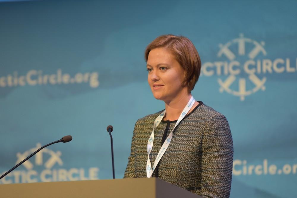 State Secretary Marit Berger Røsland speaking at the Arctic Circle conference in Reykjavik in October (Thomas Nilsen / The Independent Barents Observer)