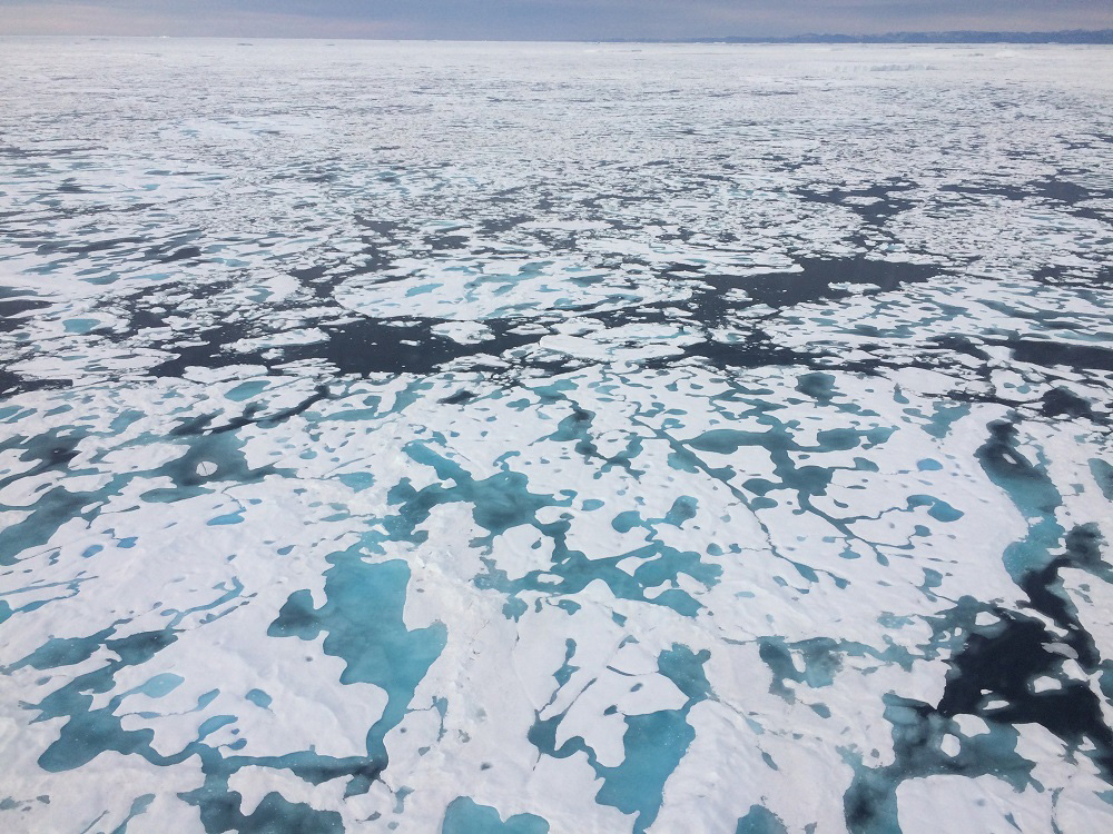 Melting sea ice in the Kane Basin between Greenland and Canada's Ellesmere Island. (Chris Mooney / The Washington Post)