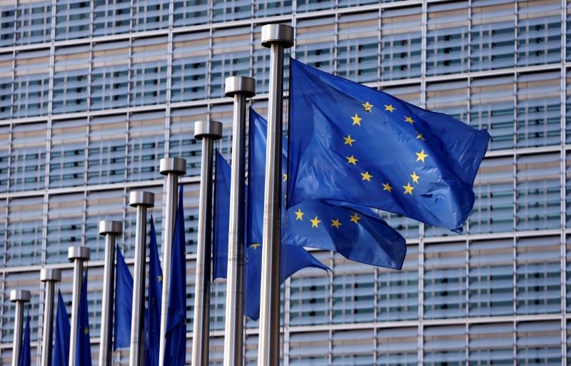 European Union flags flutter outside the EU Commission headquarters in Brussels, Belgium, April 20, 2016. (Francois Lenoir / Reuters)