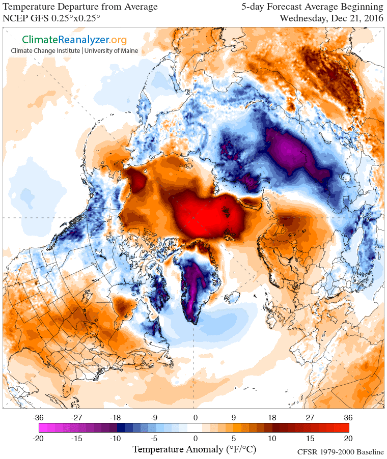 Pre-Christmas melt? North Pole forecast to warm 50 degrees above normal Thursday