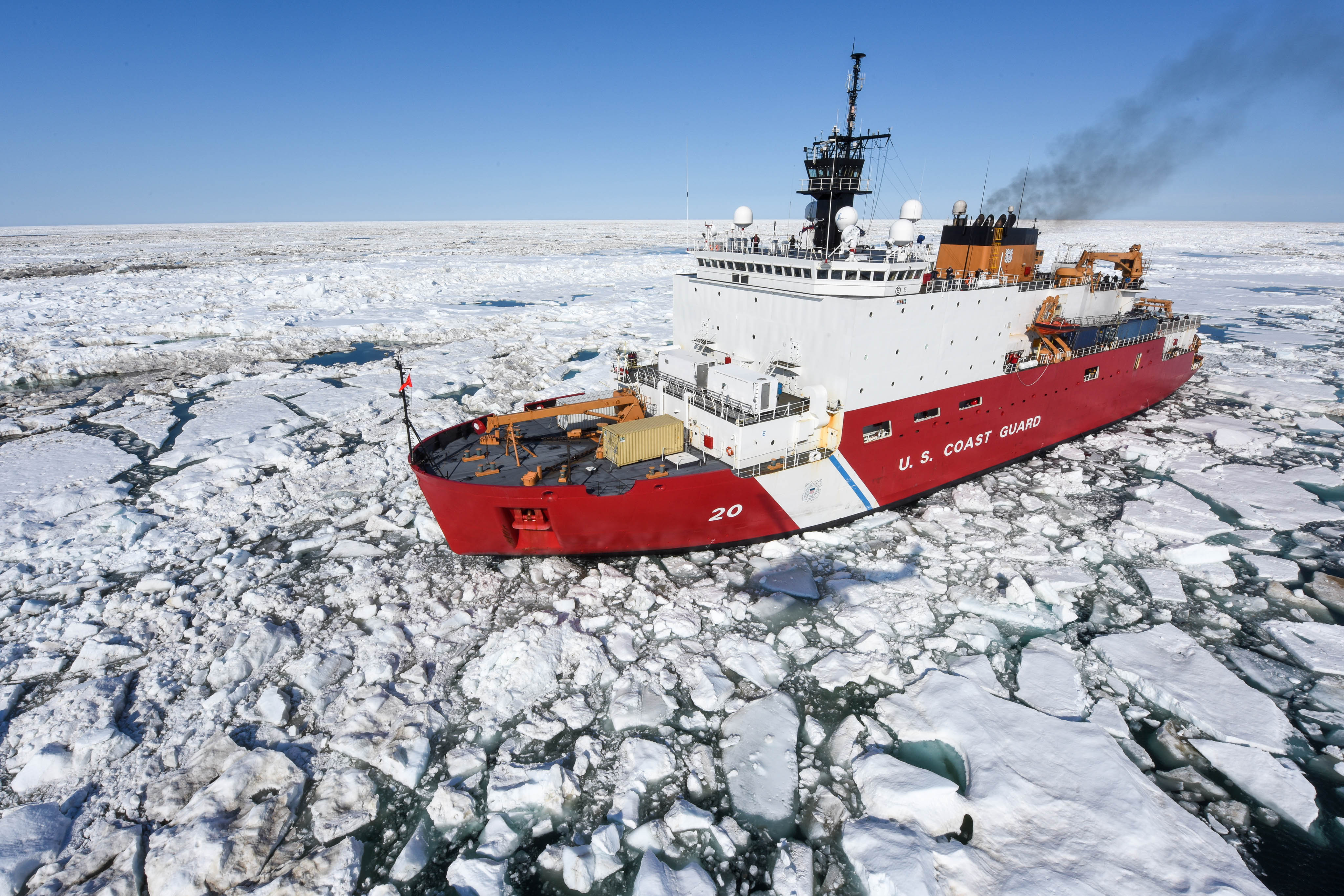 The Coast Guard Cutter Healy patrols the Arctic Ocean during a Coast Guard Research and Development Center joint civil and federal search and rescue exercise near Oliktok Point, Alaska, July 13, 2015. The Healy is a 420-foot icebreaker homeported in Seattle. (Petty Officer 2nd Class Grant DeVuyst / U.S. Coast Guard)