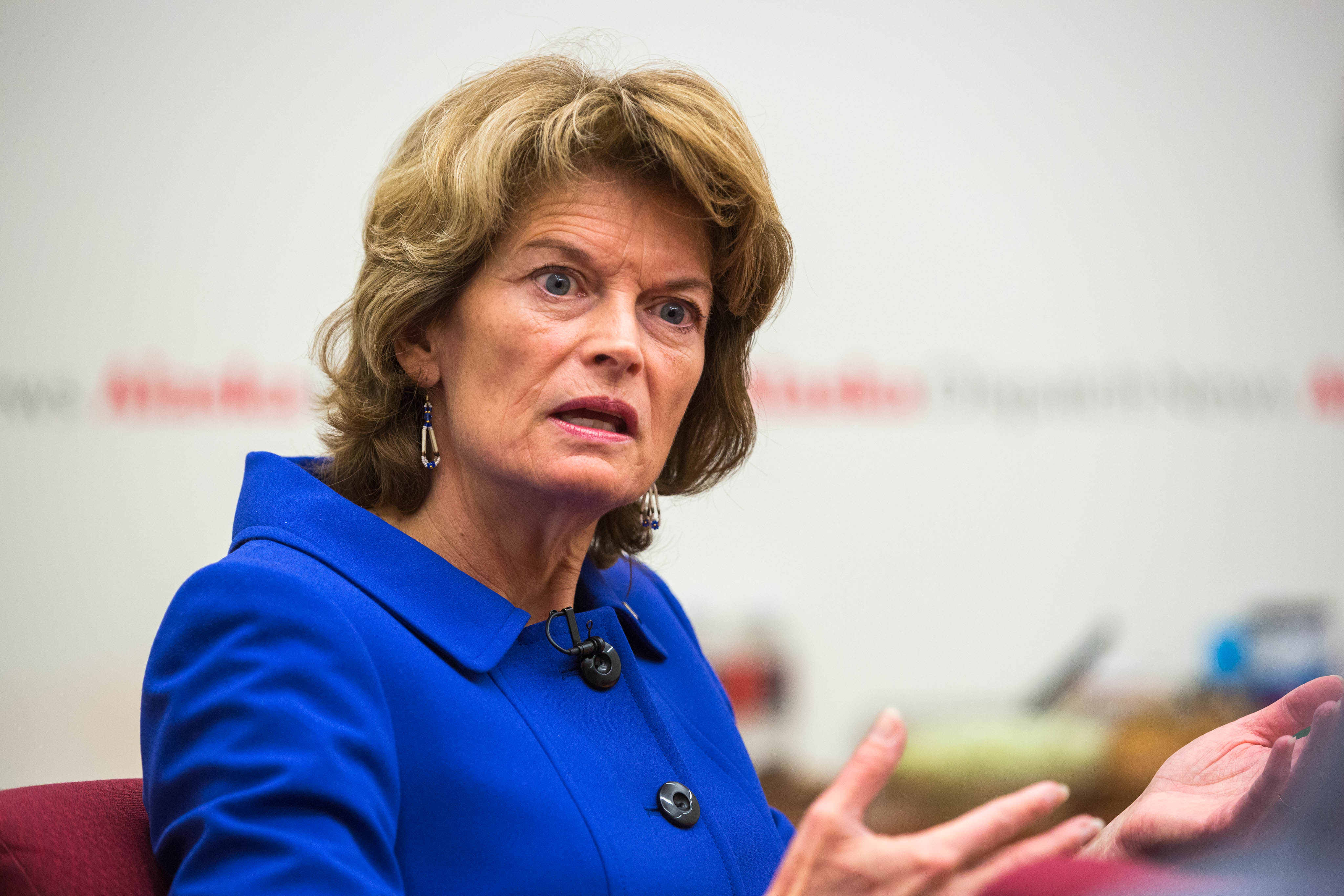 Sen. Lisa Murkowski speaks with reporters at the Alaska Dispatch News offices on Wednesday, October 14, 2015. (Loren Holmes / Alaska Dispatch News)