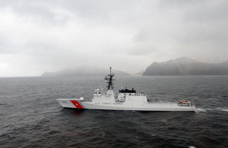 The Coast Guard Cutter Bertholf departs Dutch Harbor May 9, 2011, in support of a fisheries and law enforcement patrol in the Bering Sea and Gulf of Alaska. (Petty Officer 3rd Class Charly Hengen / U.S. Coast Guard)