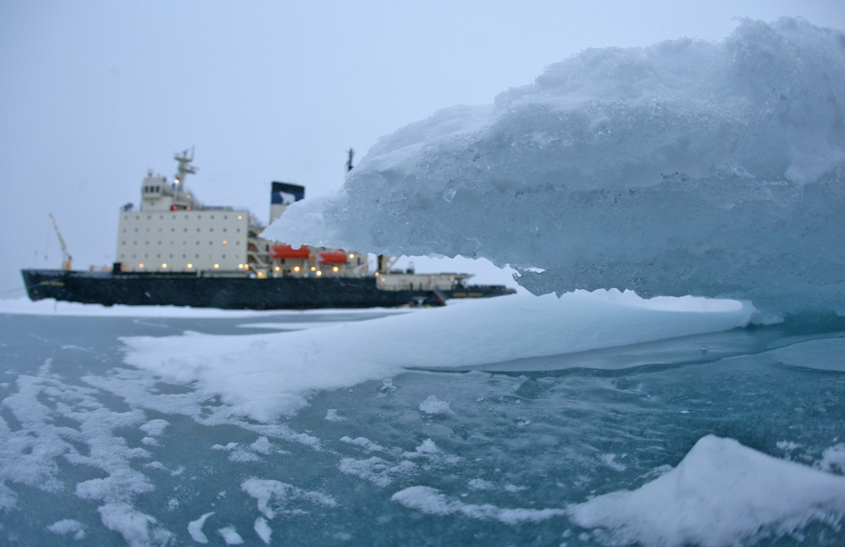 Historic convoy trapped in ice near Arctic outpost