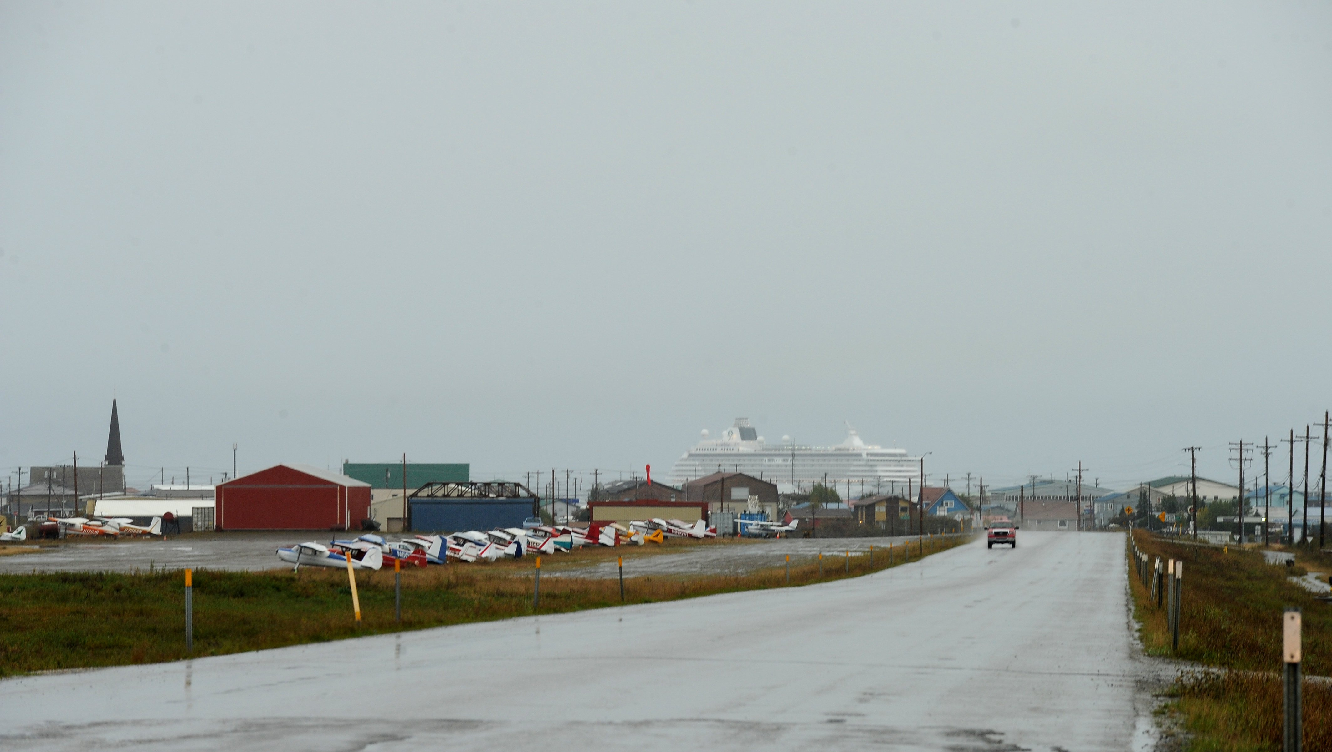 The Crystal Serenity cruise ship stops in Nome, AK on Sunday, August 21, 2016. The cruise ship is on its way across the Northwest Passage, the largest passenger ship to attempt the crossing. (Bob Hallinen / Alaska Dispatch News)