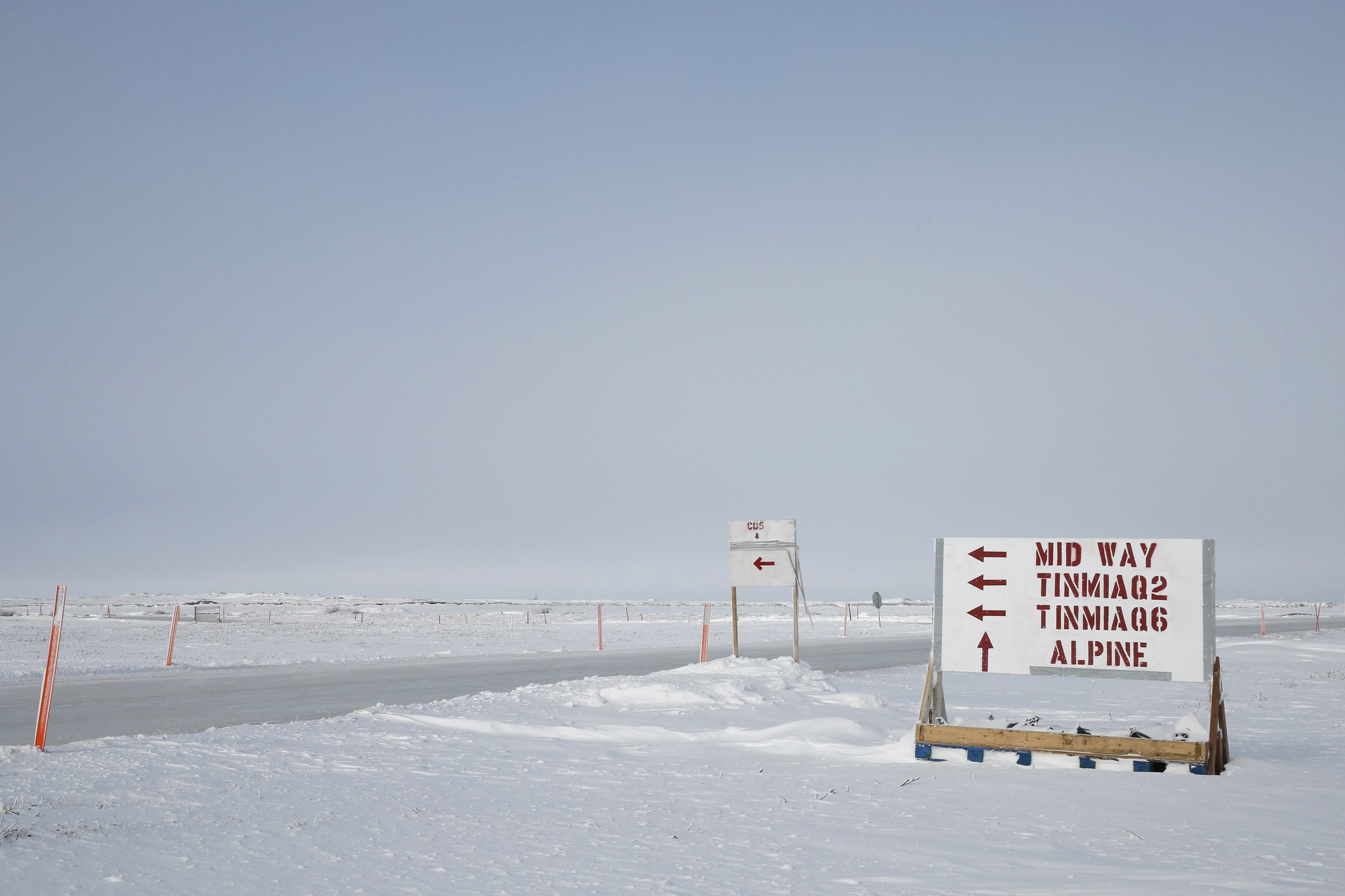 A sign points on the North Slope points the way to the two wells, Ti?miaq 2 and 6, that are part of ConocoPhillips newly announced Willow discovery in the National Petroleum Reserve-Alaska. (Judy Patrick / ConocoPhillips)