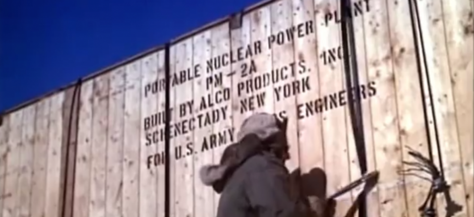 A nuclear reactor is unpacked at Camp Century (unknown via the Arctic Journal)