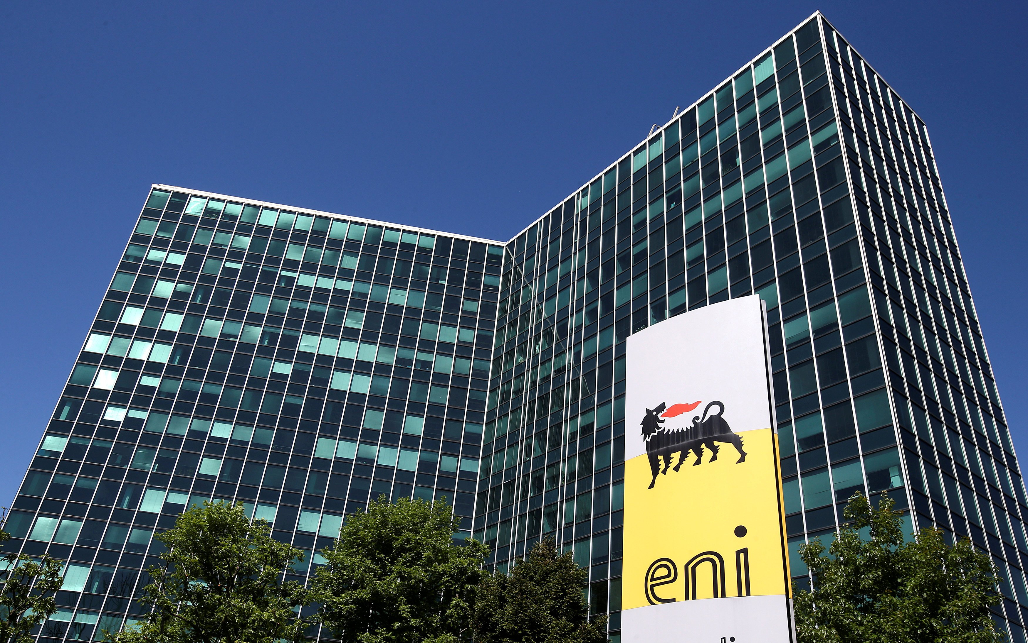 Eni's logo is seen in front of its headquarters in San Donato Milanese, near Milan, Italy, in this April 27, 2016 file photo. (Stefano Rellandini / Reuters File Photo)
