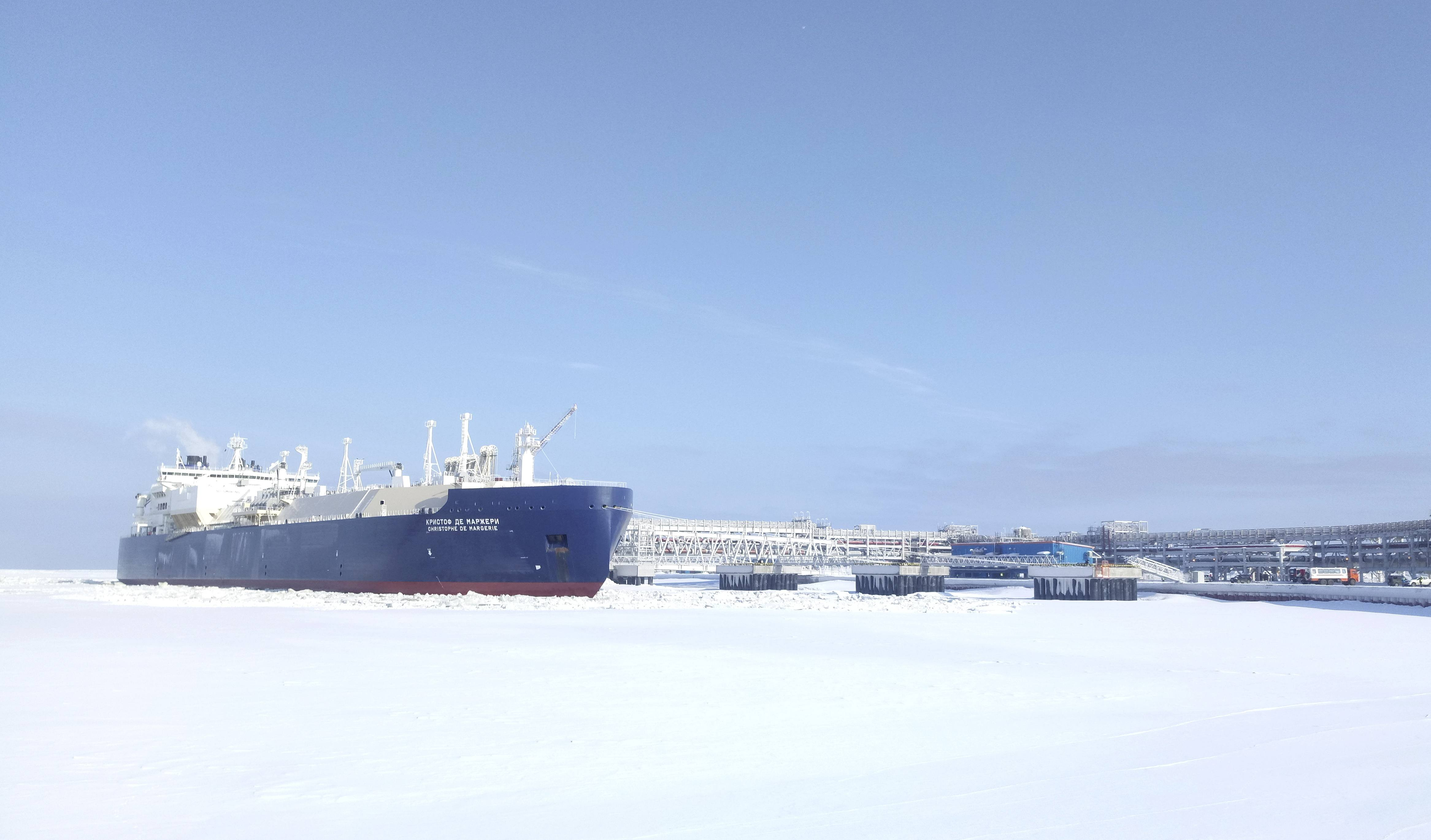The Christophe de Margerie, an ice-class tanker fitted out to transport liquefied natural gas, is docked in Arctic port of Sabetta, Yamalo-Nenets district, Russia March 30, 2017. (Olesya Astakhova / Reuters)
