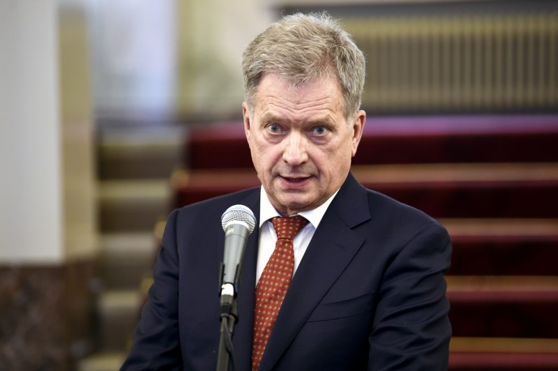 Finland's President Sauli Niinisto delivers remarks on the International Arctic Forum which ended in Arkhangelsk yesterday, during a media conference at the Presidential Palace in Helsinki, Finland March 31, 2017. (LEHTIKUVA / Antti Aimo-Koivisto via Reuters)