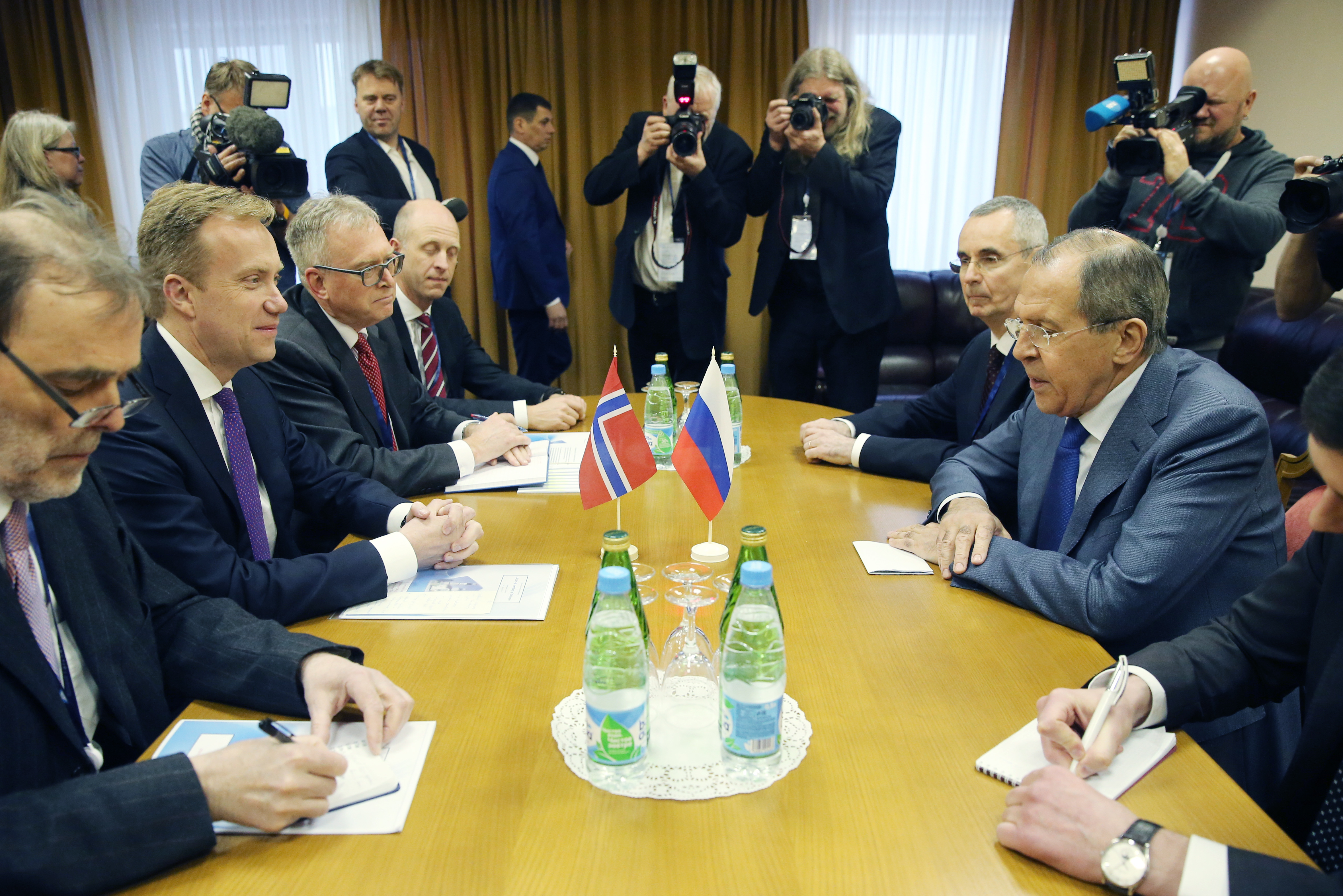 Russia's Foreign Minister Sergei Lavrov (right) and Norway's Foreign Minister Børge Brende (send from left) meet on the sidelines of the 2017 Arctic: Territory of Dialogue International Arctic Forum at the Lomonosov Northern (Arctic) Federal University in Arkhangelsk, Russia, March 29, 2017. (Peter Kovalev / TASS Host Photo Agency via International Arctic Forum)