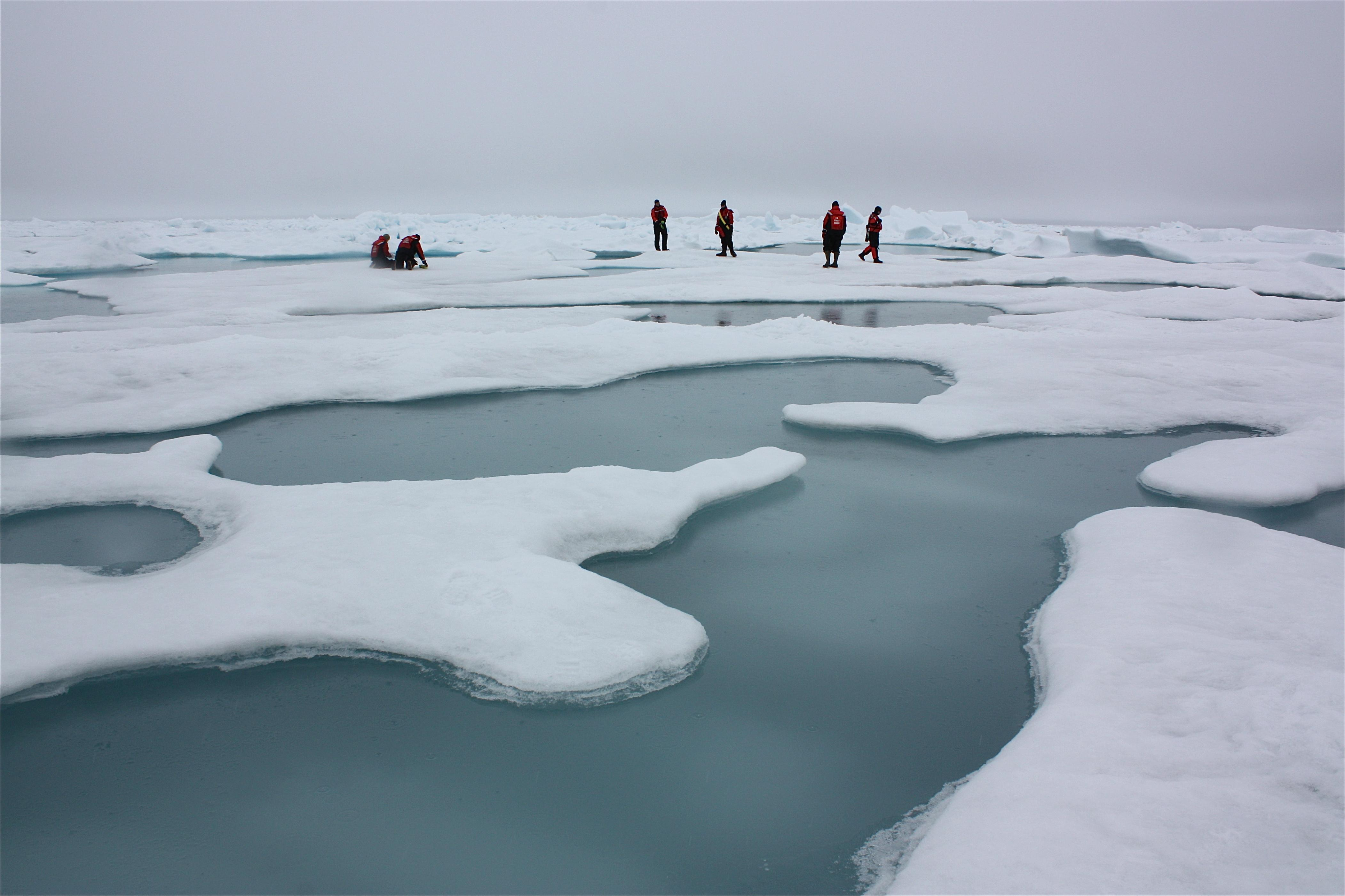 Scientists with NASA's ICESCAPE mission conduct research on Arctic sea ice and melt ponds in the Chukchi Sea, on July 4, 2010. (Kathryn Hansen / NASA)