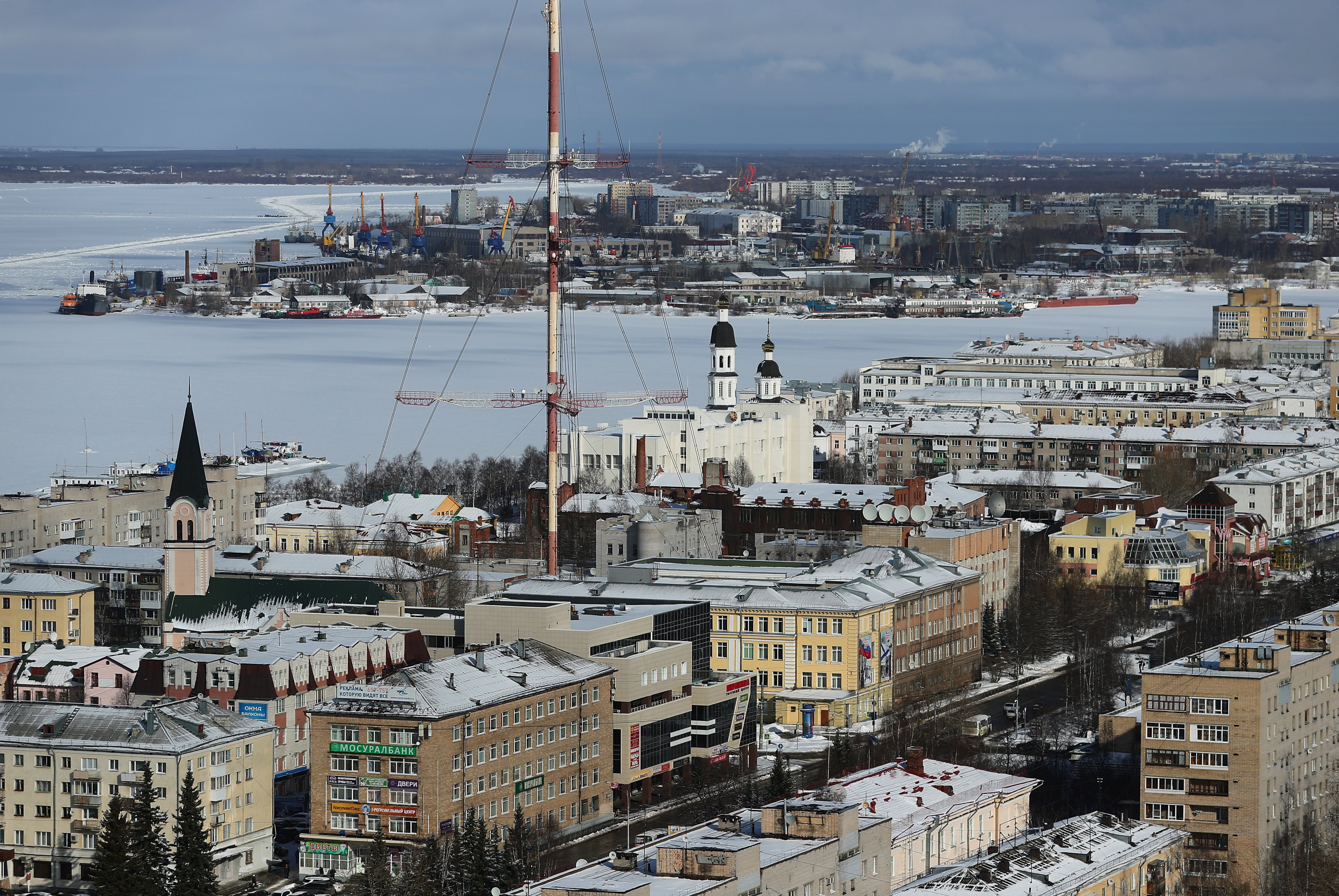 A view of the Northern Dvina River in Arkhangelsk, Russia, March 27, 2017. (Vladimir Smirnov / TASS Host Photo Agency via International Arctic Forum)