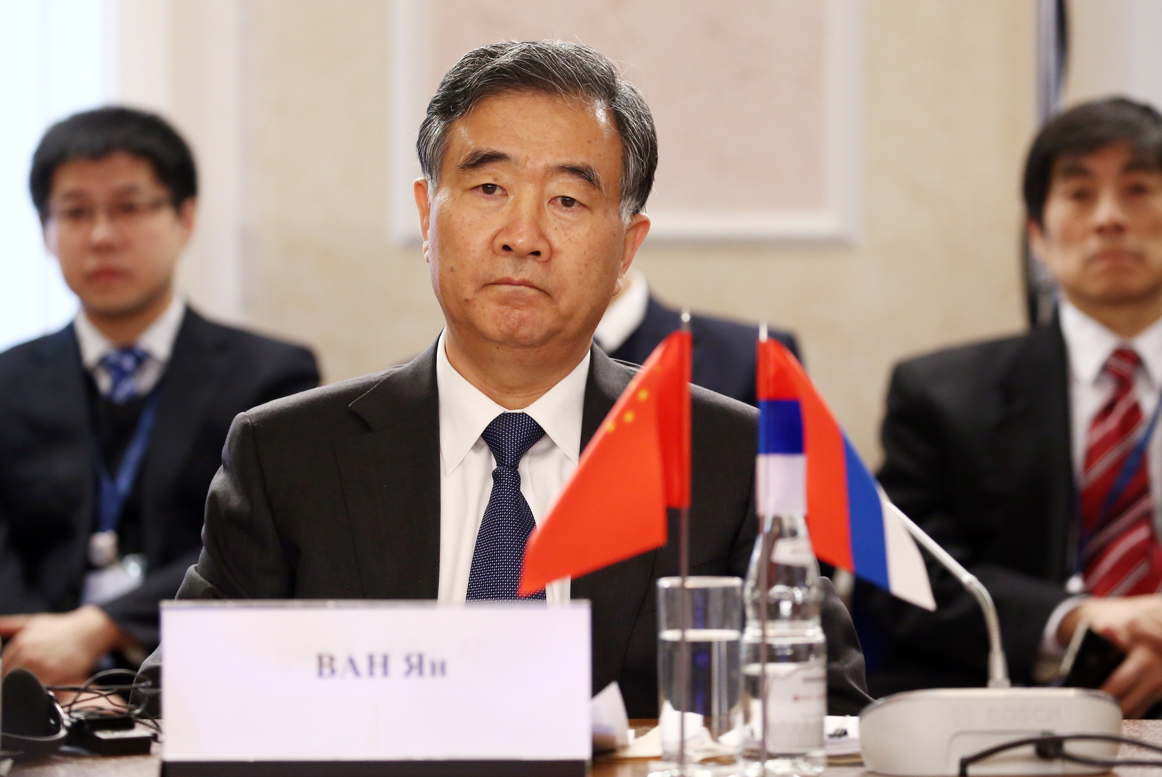 China's Vice Premier Wang Yang looks on during a meeting with Russia's Deputy Prime Minister Dmitry Rogozin, both co-chairs of the Russian-Chinese Commission on Preparing Regular Meetings of Heads of Government, on the sidelines of the 2017 Arctic: Territory of Dialogue International Arctic Forum at the Lomonosov Northern (Arctic) Federal University in Arkhangelsk, Russia, March 29, 2017. (Alexander Ryumin / TASS Host Photo Agency via International Arctic Forum)
