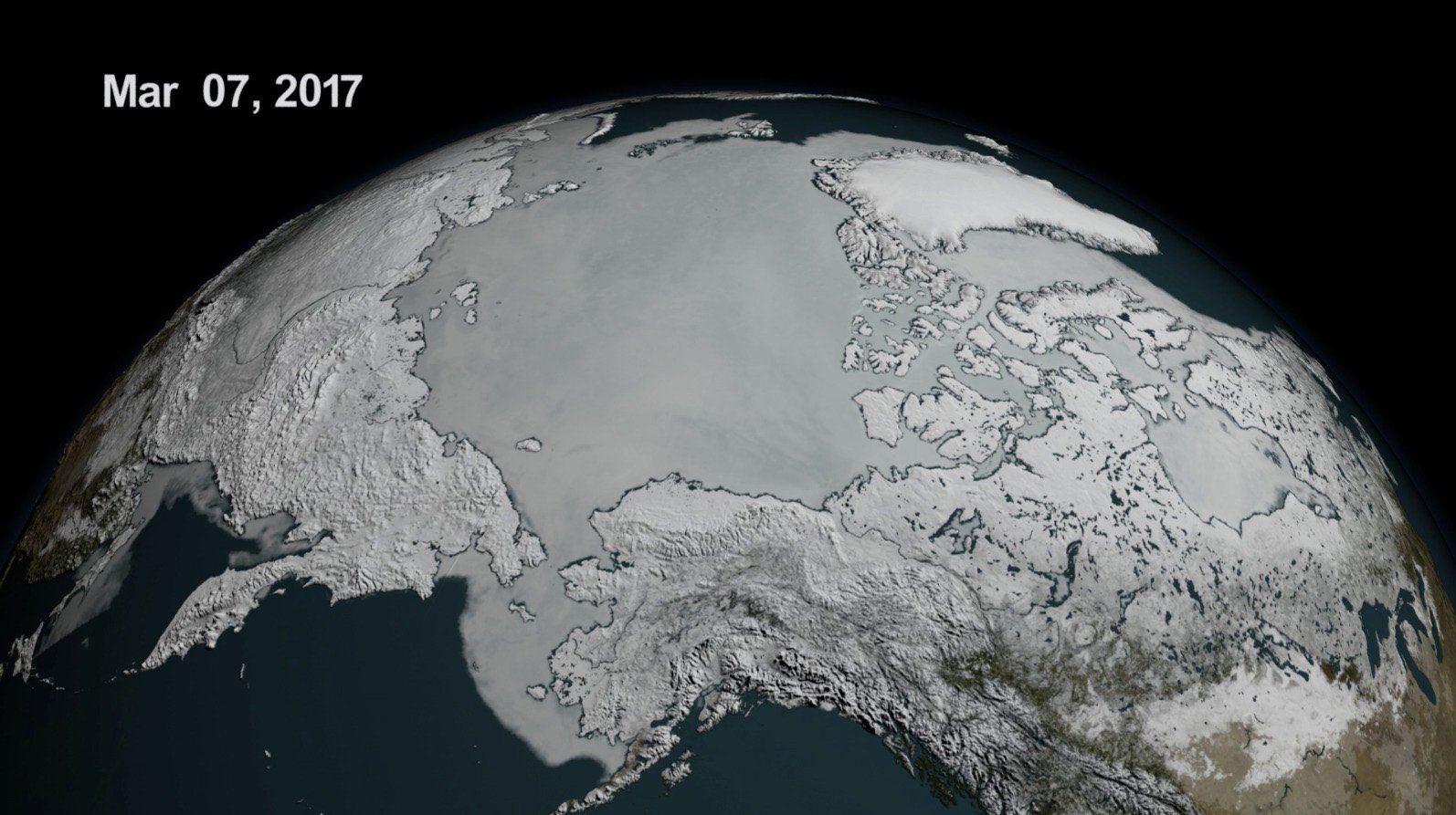Arctic sea ice reaches record-low maximum extent for 3rd winter in a row