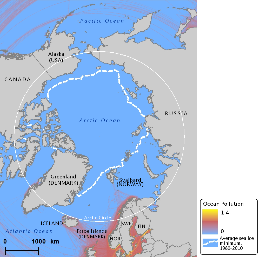 Ocean pollution levels in the Arctic in 2013, according to data from the National Center for Ecological Analysis and Synthesis. (Mia Bennett / Cryopolitics)