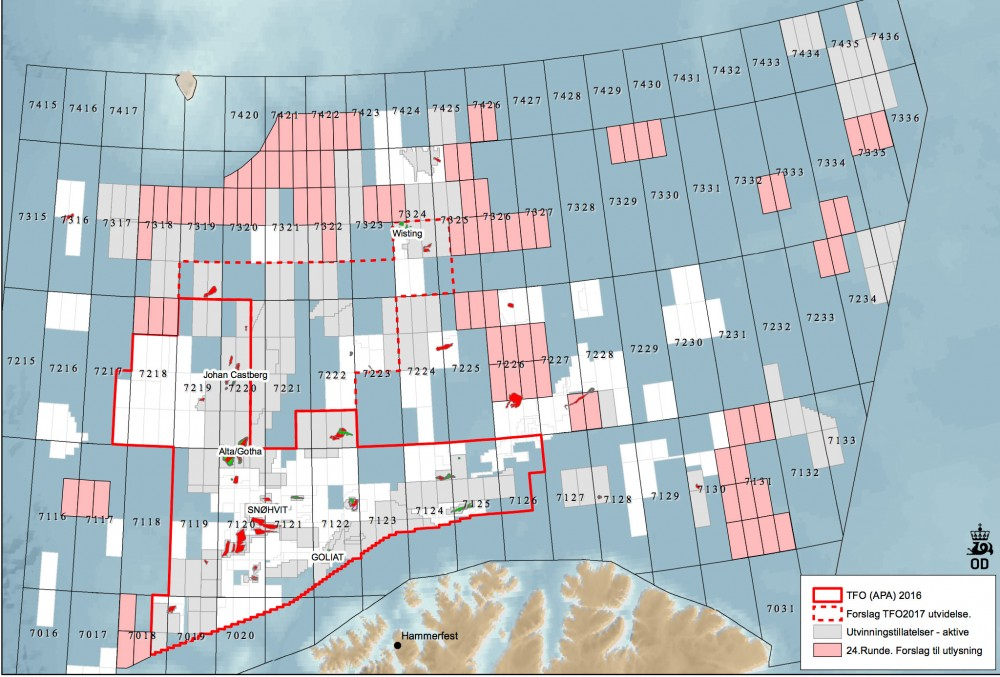Proposed new blocks in the Barents Sea. (Regjeringen.no via The Independent Barents Observer)