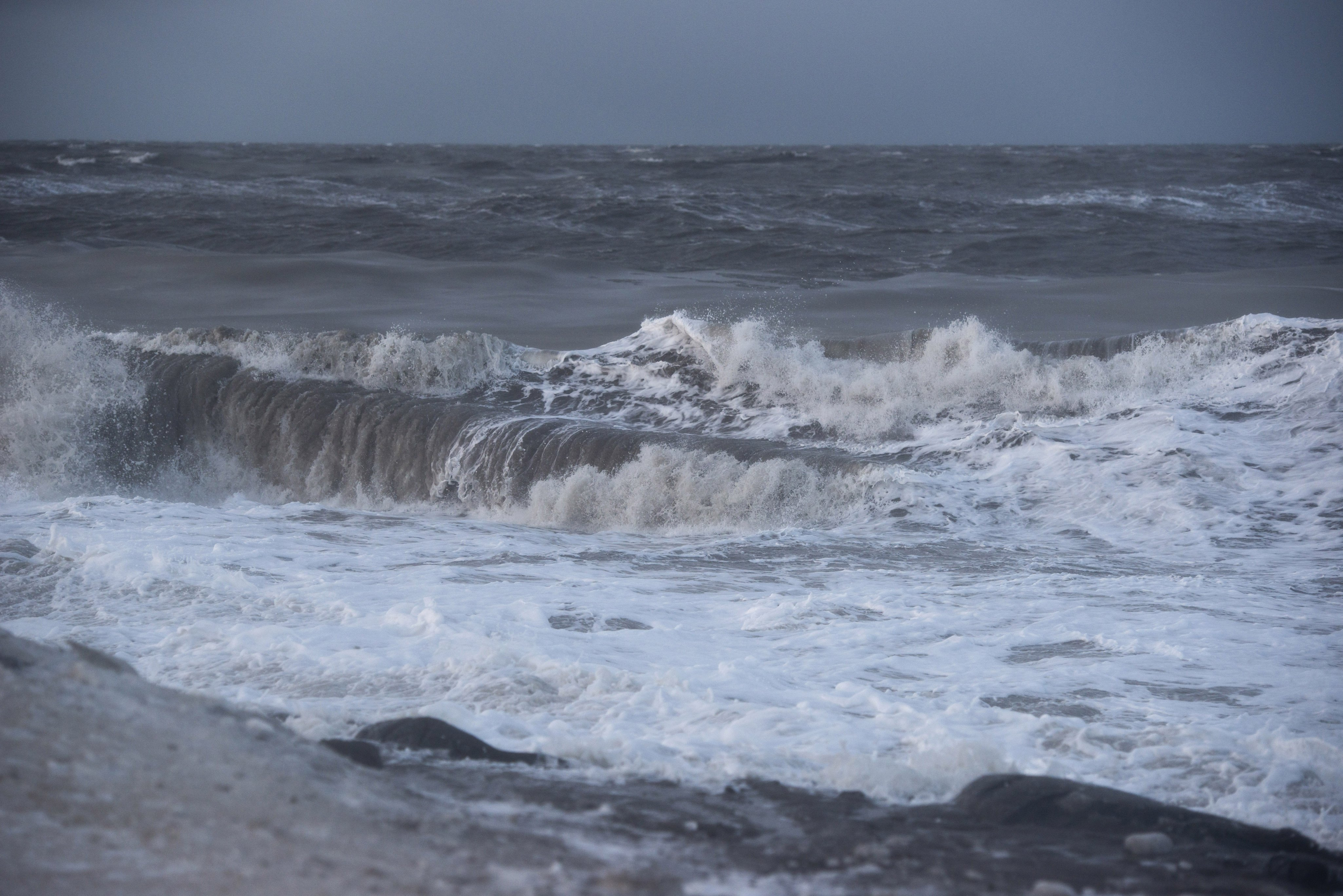 Chukchi Sea waves crash on the coast at Barrow on Sunday, November 10, 2013. (Marc Lester / ADN archive)
