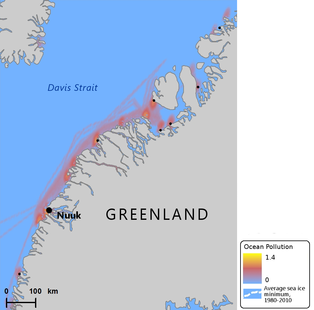Even Greenland, with smaller scale traffic, shows signs of pollution. (Mia Bennett / Cryopolitics)