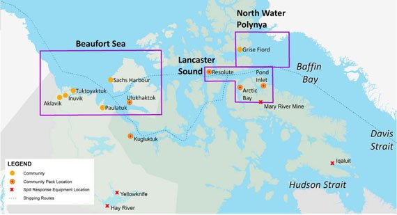 This map shows the areas that the World Wildife Fund-Canada studied for its report on Canada's capacity to respond to fuel oil spills from ships operating in the Arctic. (WWF image)