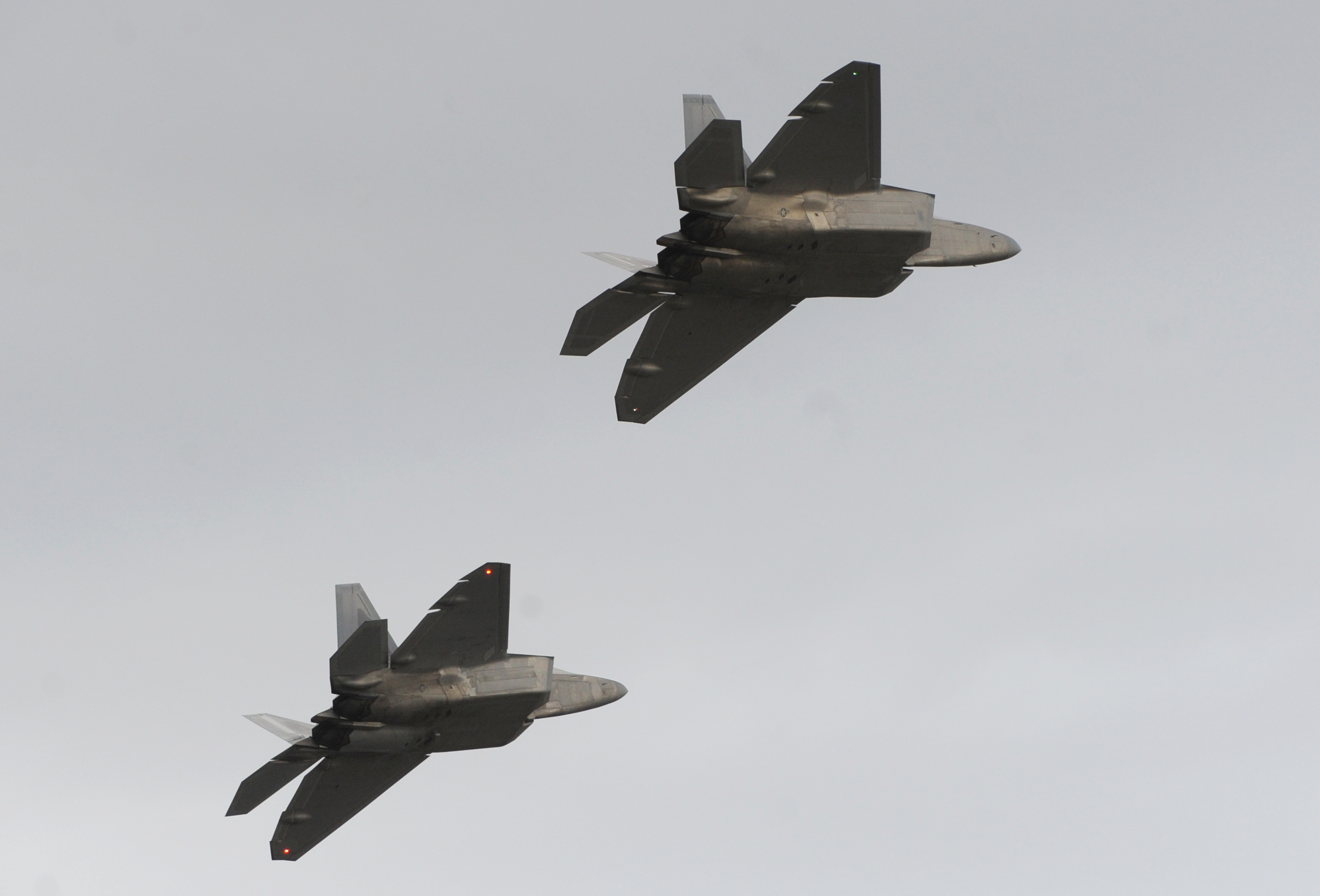 BILL ROTH / Anchorage Daily News F-22 Raptors could be seen in the air over Joint Base Elmendorf-Richardson on Wednesday, Sept. 21, 2011, for the first time in four months after being grounded for safety concerns with the oxygen system.