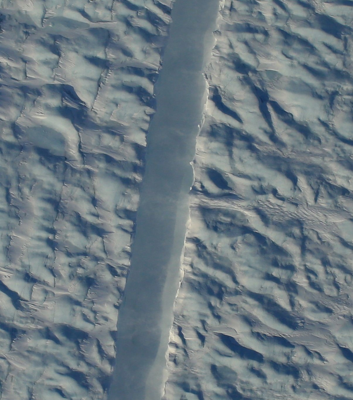 NASA snaps its first photos of a new crack in one of Greenland's largest glaciers