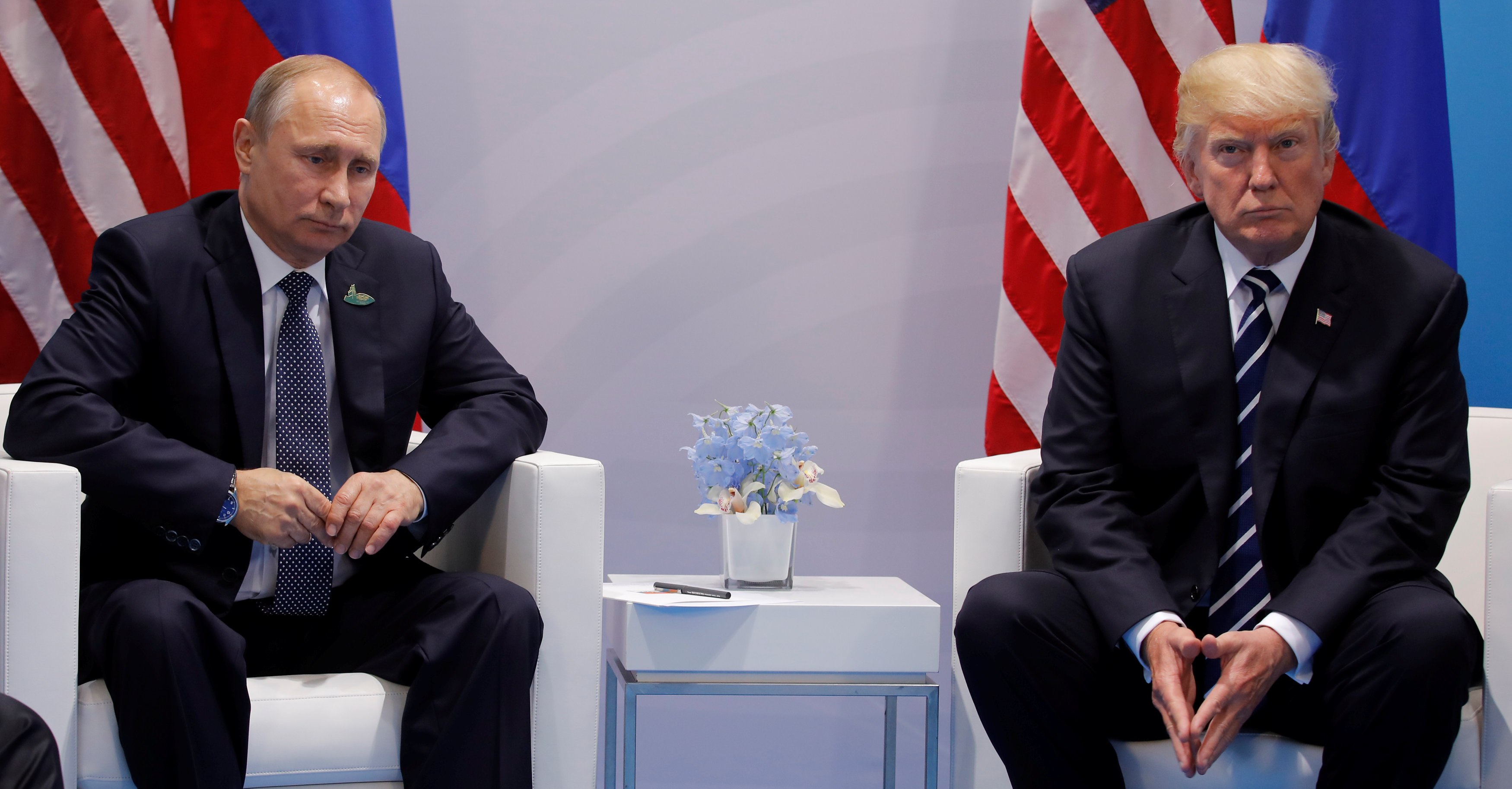 U.S. President Donald Trump meets with Russian President Vladimir Putin during their bilateral meeting at the G20 summit in Hamburg, Germany July 7, 2017. (Carlos Barria / Reuters)