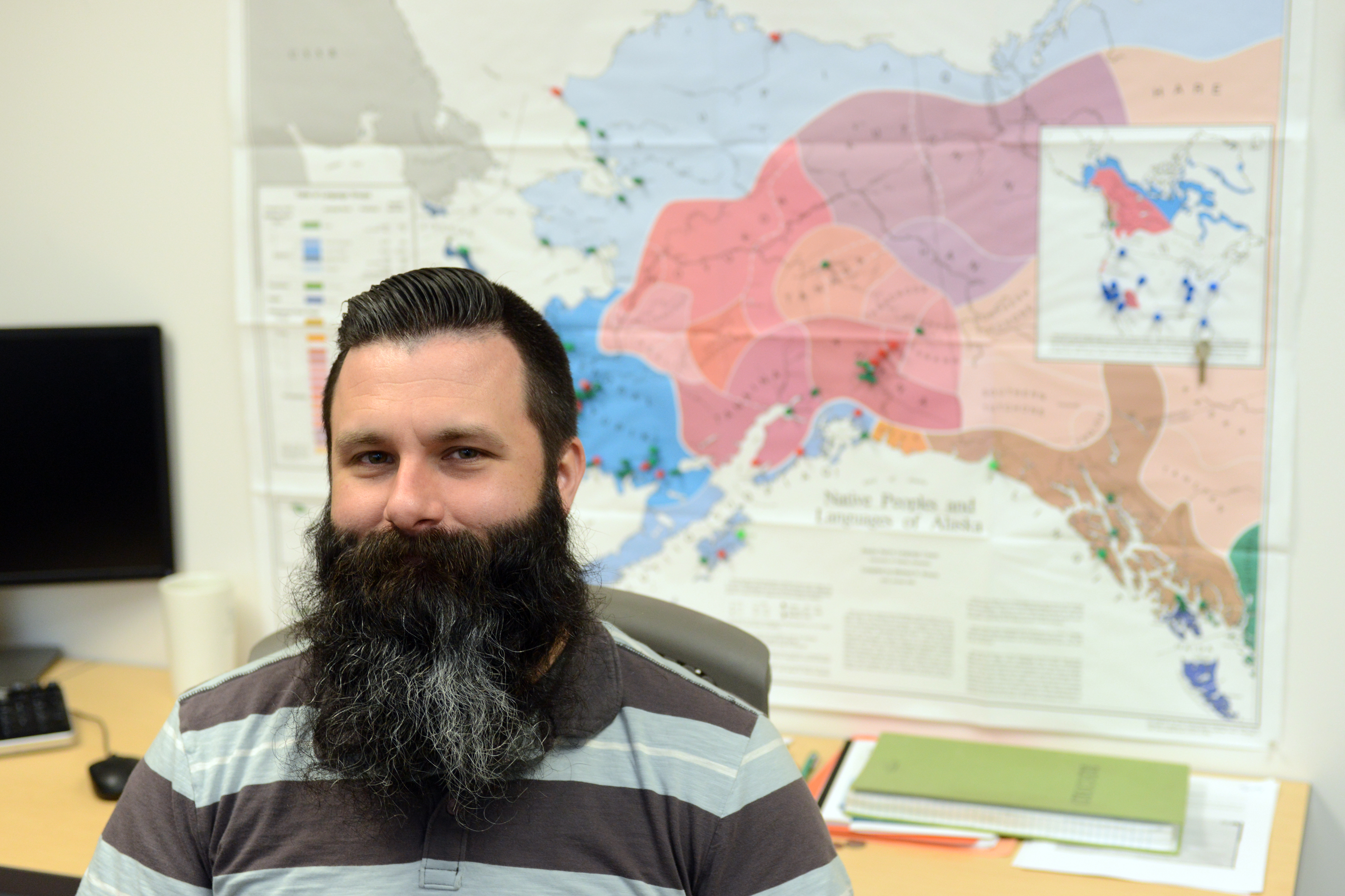 AJ Salkoski is a Senior Program Manager at Alaska Native Tribal Health Consortium. Salkoski led a team to eight villages in southwest Alaska to conduct air quality tests and home improvements. Push pins mark all the places throughout Alaska he has visited in the course of his work. He was photographed on Wednesday, July 26, 2017, at the Diplomacy Building on the Alaska Native Health Campus. (Erik Hill / Alaska Dispatch News)