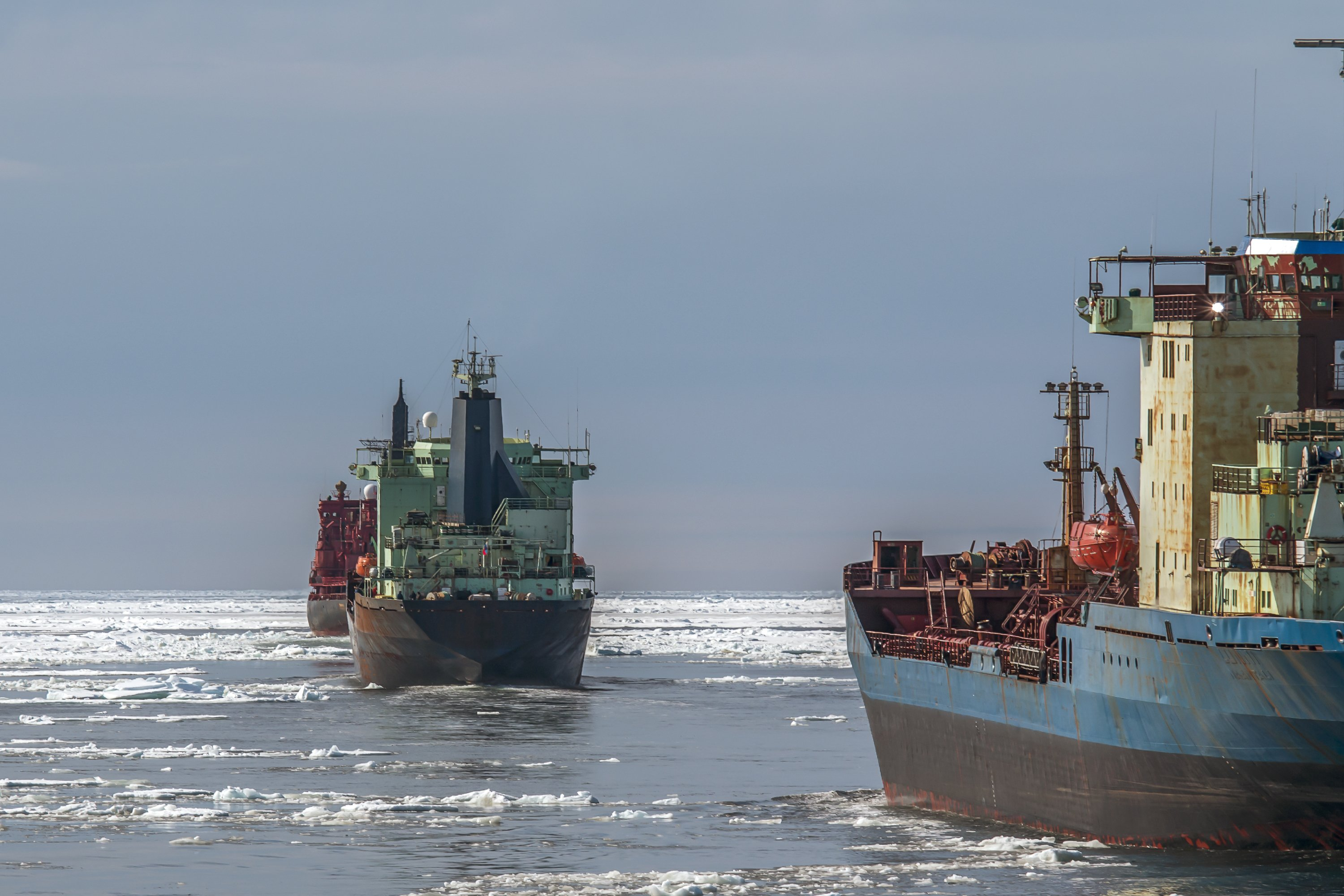 A convoy of tankers sails in the wake of a nuclear-powered icebreaker on Russia's Northern Sea Route. (Getty)