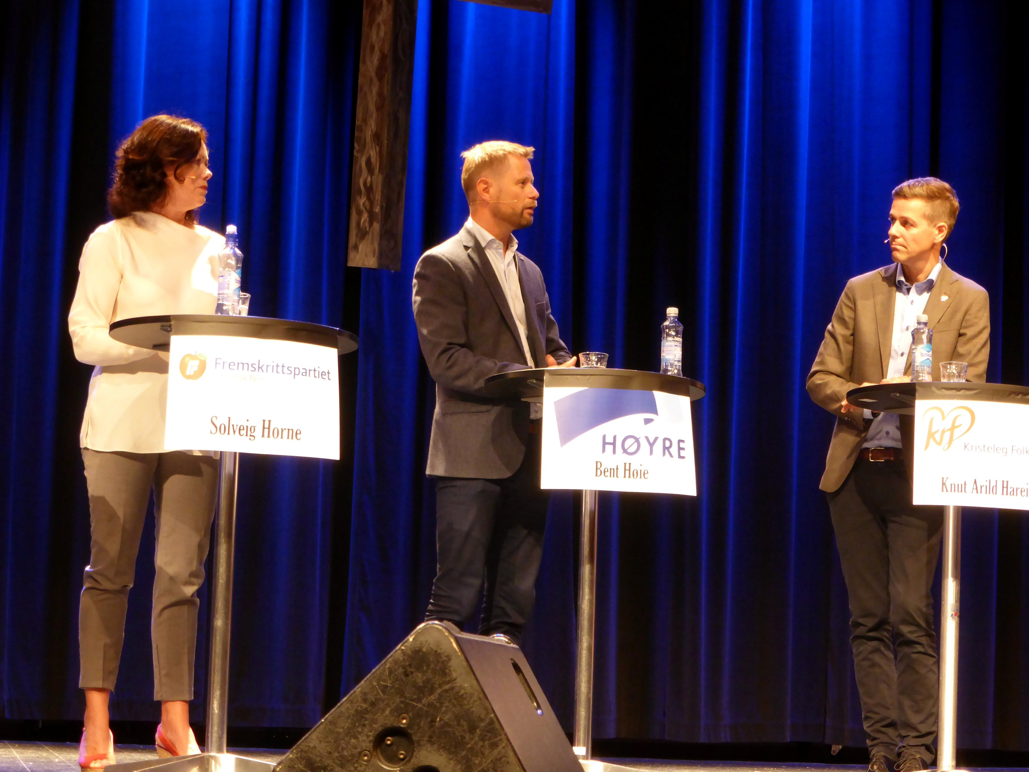 Solveig Horne of Progress Party (L to R), Bent Hoie of Conservatives party and Knut Arild Hareide of Christian Democratic party attend political debate in Stavanger, Norway August 27, 2017. (Gwladys Fouche / Reuters)
