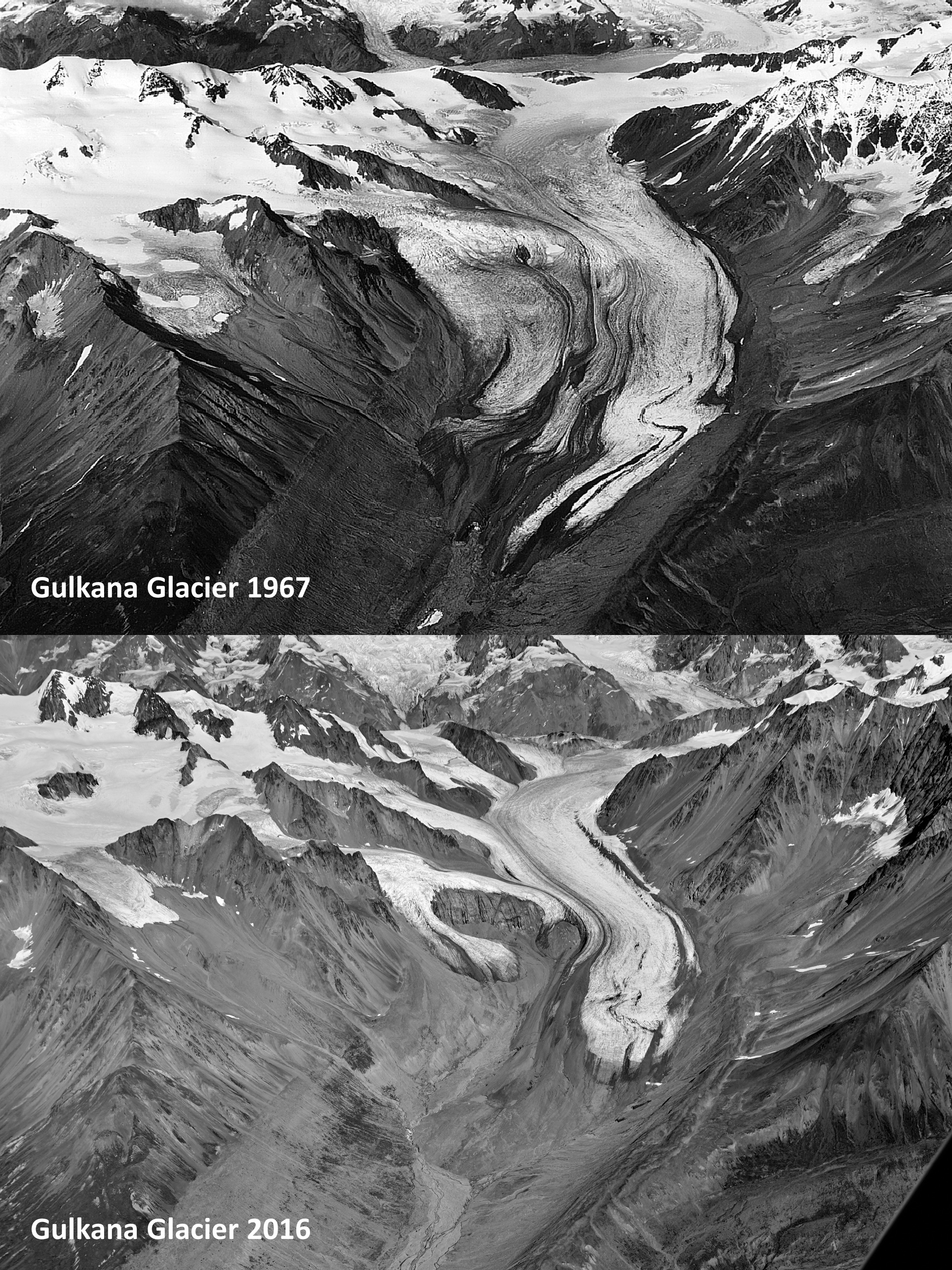 The top photo shows the Gulkana Glacier in 1967 when the US Geological Survey started a glacier mass balance monitoring program. The bottom photo is 49 years later in 2016 and shows the shrinkage of the glacier extent. The total loss of water from the glacier retreat equals a 25m deep water column spread out across the entire recent glacier area. Gulkana Glacier is in the Alaska Range south of Delta Junction. (US Geological Survey)