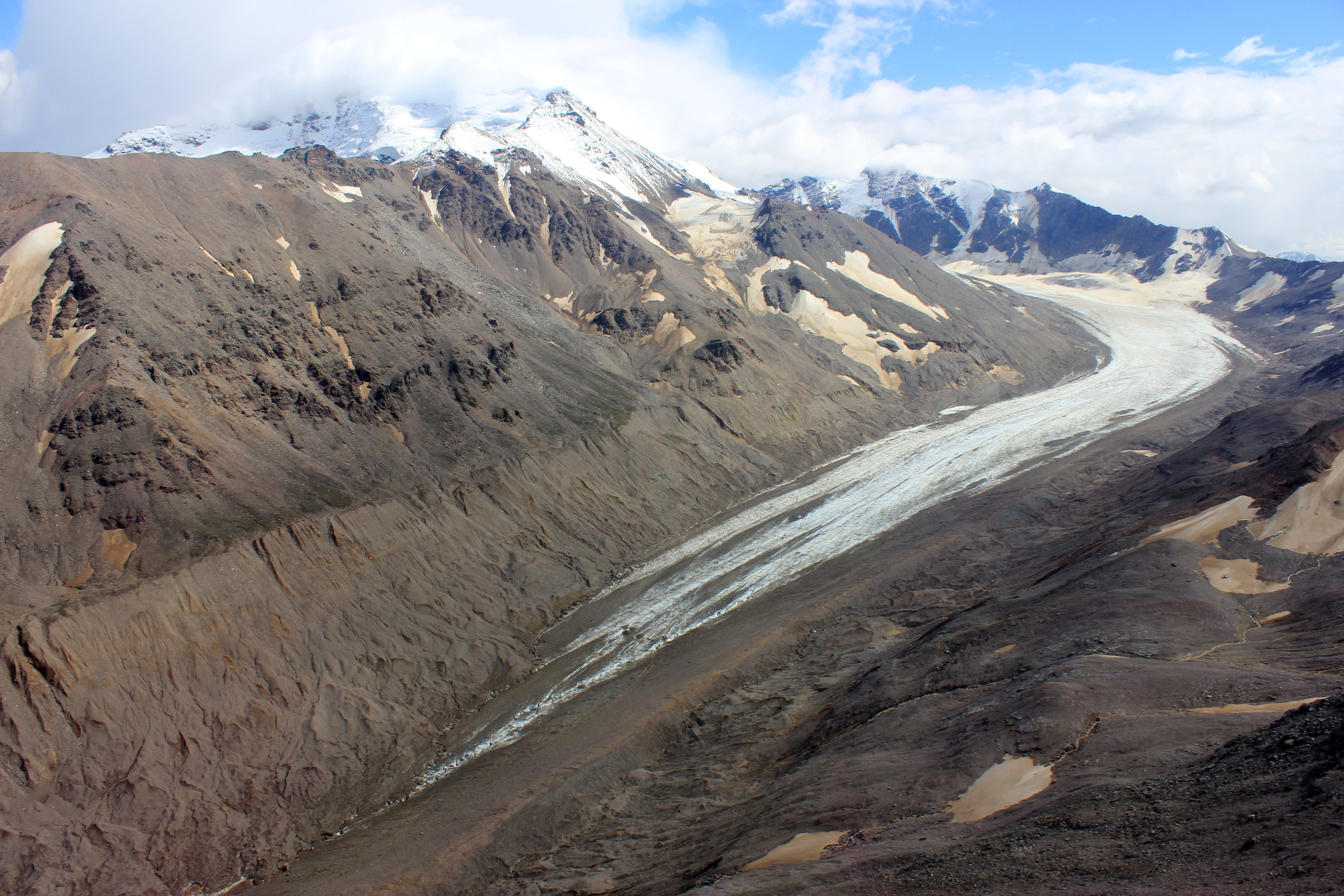 This photo shows Jarvis Glacier in the later summer with the 9300-ft mountain peak Silvertip. Jarvis Glacier is in the Alaska Range south of Delta Junction. (Anna Liljedahl)