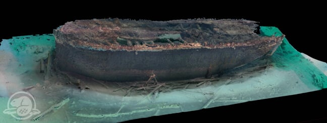 A port-side 3D scan of the HMS Erebus on the ocean floor of Queen Maud Gulf in Nunavut. (Courtesy Parks Canada via Nunatsiaq News)