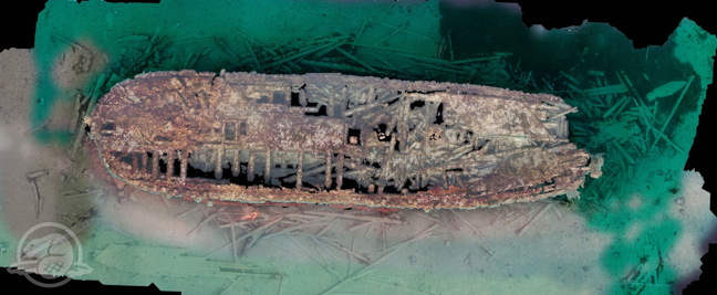 An overhead scan of the HMS Erebus showing the ship with surrounding debris and artifacts. (Courtesy Parks Canada via Nunatsiaq News)