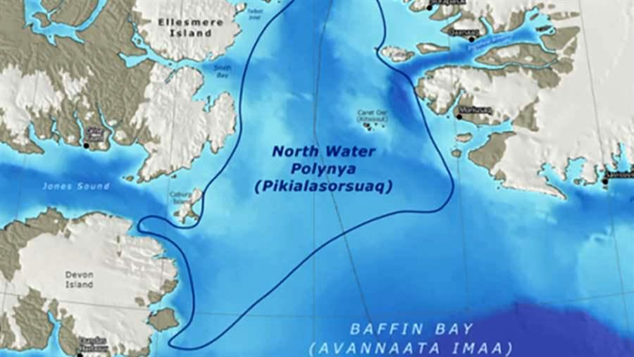 The Inuit Circumpolar Council worries that a piece of potentially toxic space junk from the second stage of a Russian rocket, which is set to fall into Baffin Bay this Oct. 13, will land within the Pikialasorsuaq or North Water polynya, an environmentally sensitive area that ICC wants to bring under Inuit management. (Nunatsiaq News file image)